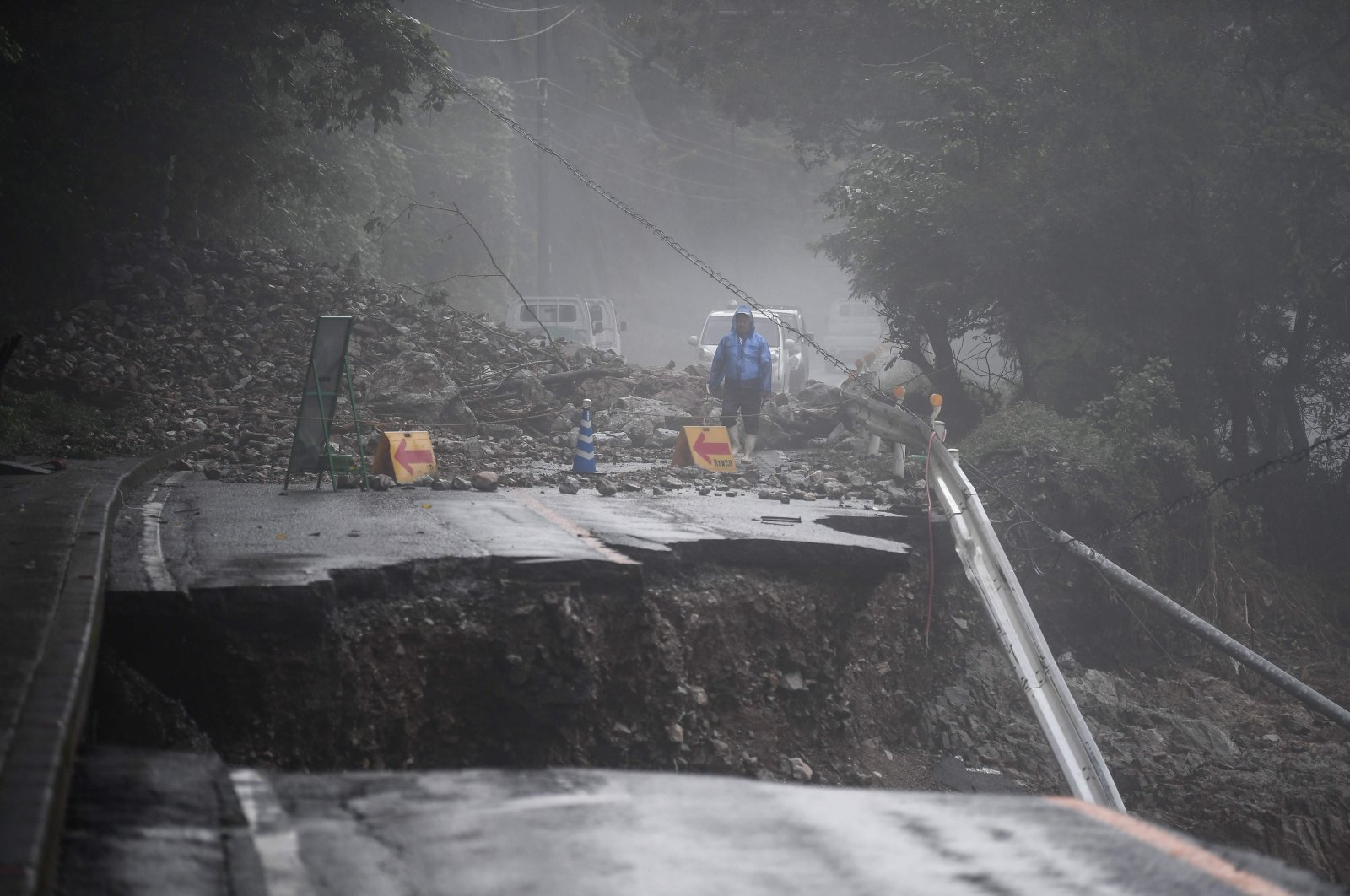 A road that collapsed due to heavy rain is seen in Kuma, Kumamoto prefecture, Japan, July 7, 2020. (AFP Photo)