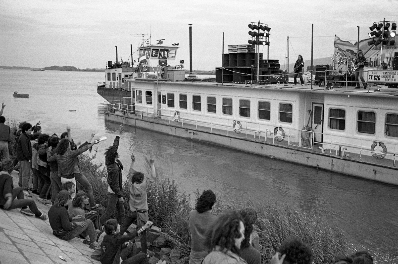 This old photo showing people listening to a concert by the Danube river is one of the photos on display at the exhibition. (Courtesy of Hungarian Cultural Center)