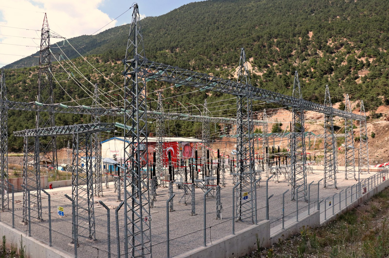 Electric networks are seen near a hydroelectric power plant in Turkey's northern province of Tokat, July 5, 2020. (AA Photo)