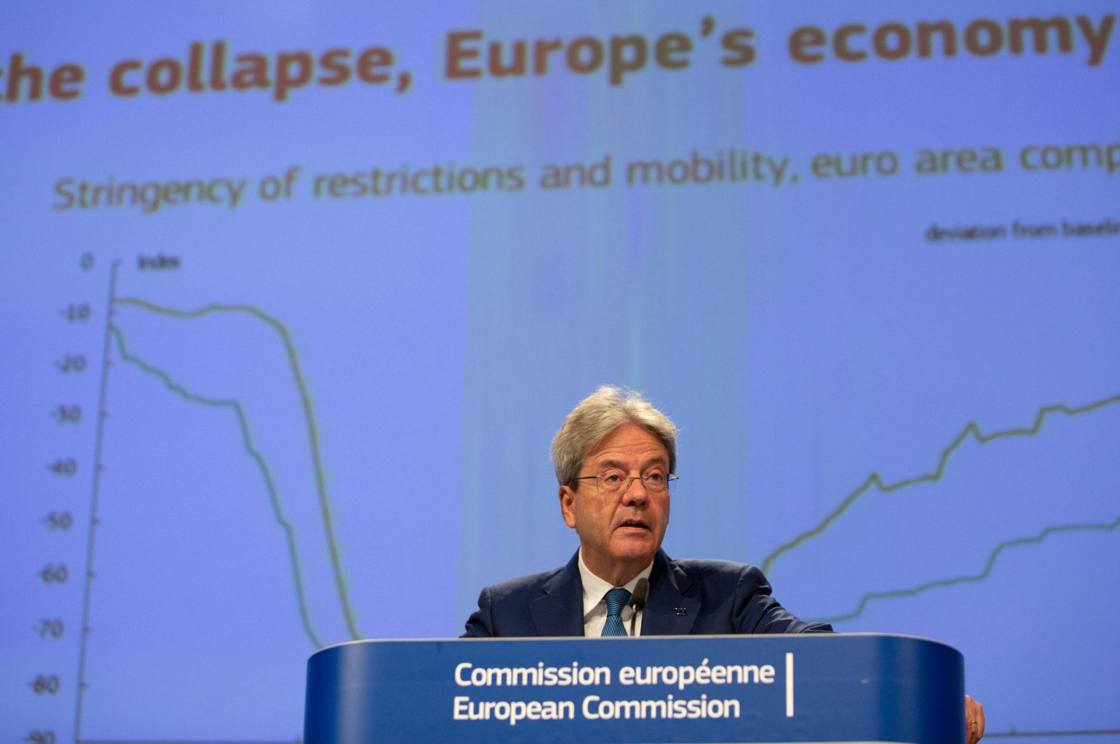 European Commissioner for Economy Paolo Gentiloni speaks during a media conference on the summer 2020 economic forecast at EU headquarters in Brussels, July 7, 2020. (AFP Photo)