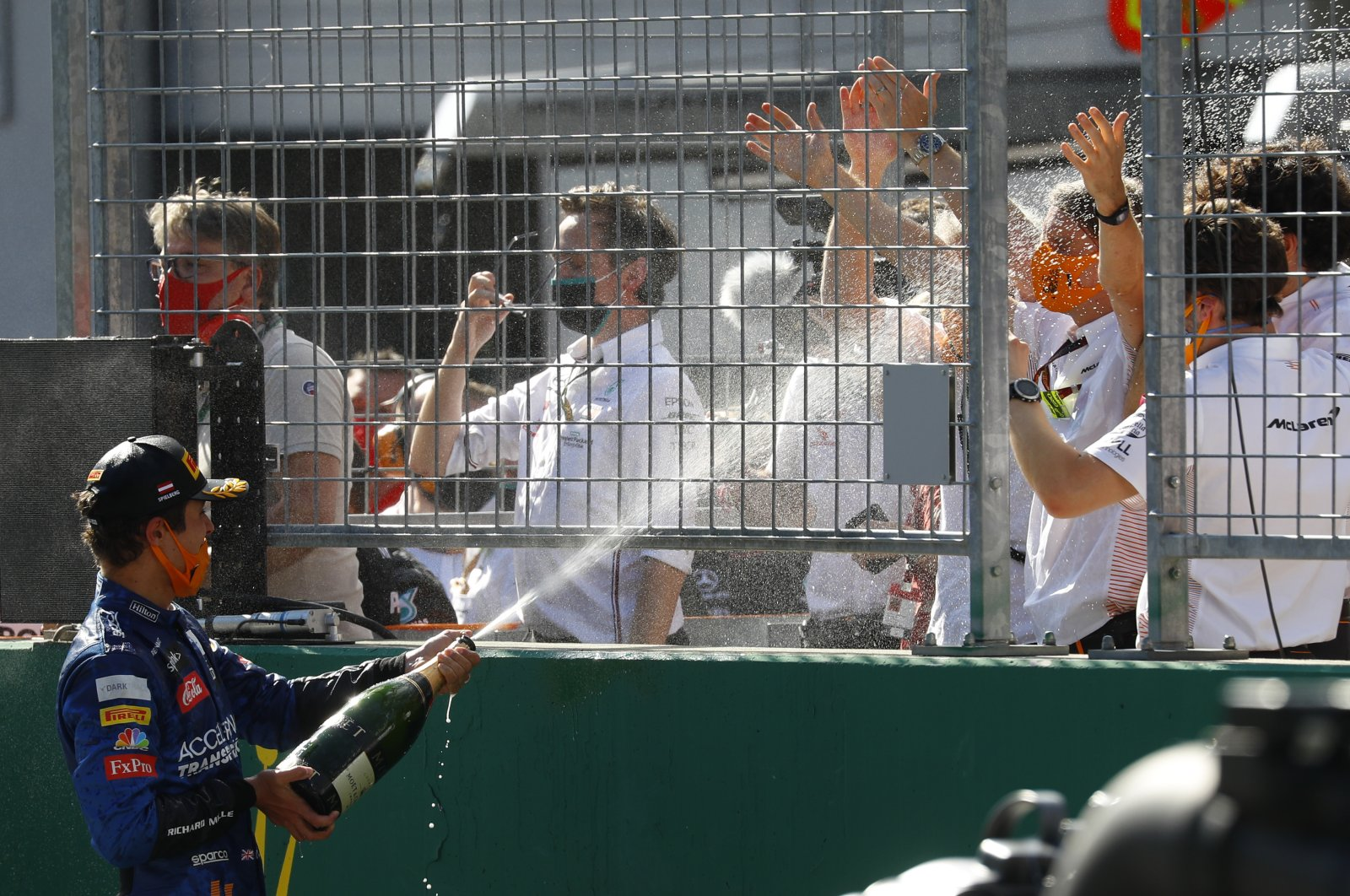 McLarens' Lando Norris sprays champagne after the Austrian Grand Prix in Spielberg, Austria, July 5, 2020. (AP Photo)