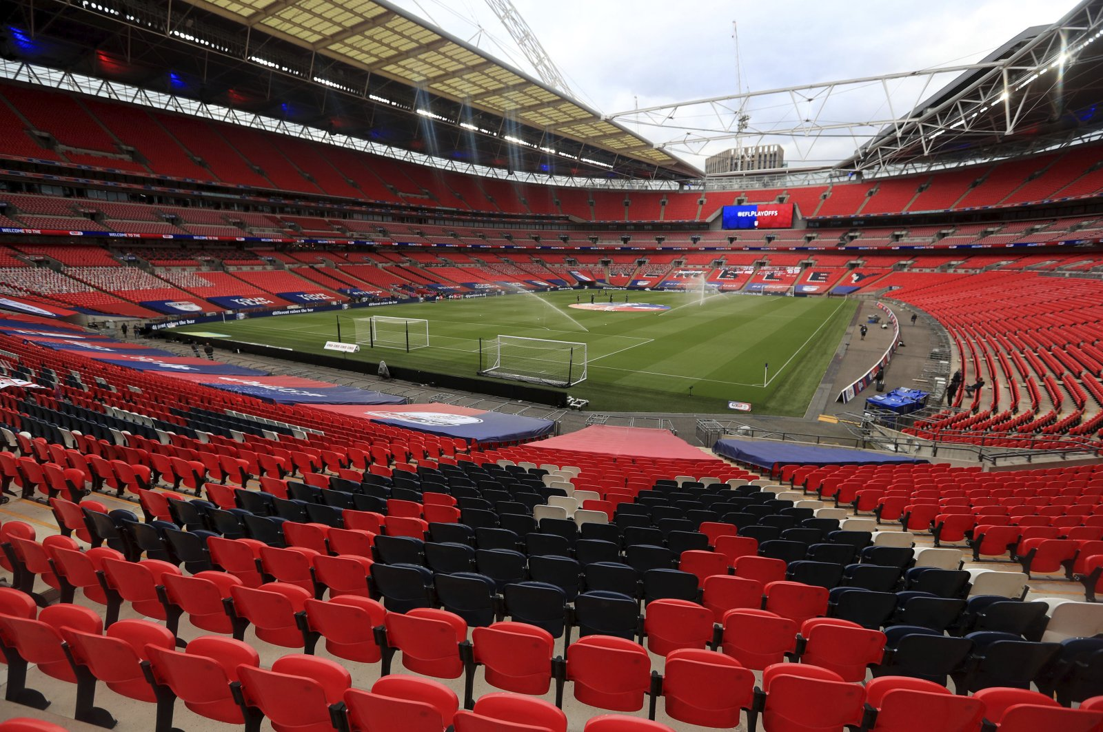 A general view of the action during the English League Two playoff final football match between Exeter and Northampton, at Wembley Stadium, in London, Britain, June 29, 2020. (AP Photo)