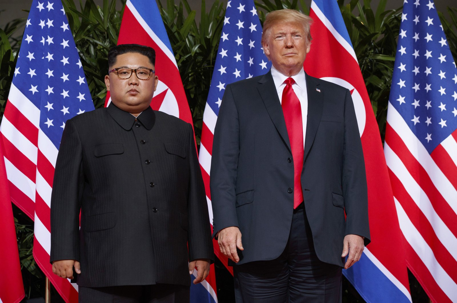 U.S. President Donald Trump meets with North Korean leader Kim Jong Un on Sentosa Island, Singapore, June 12, 2018. (AP Photo)