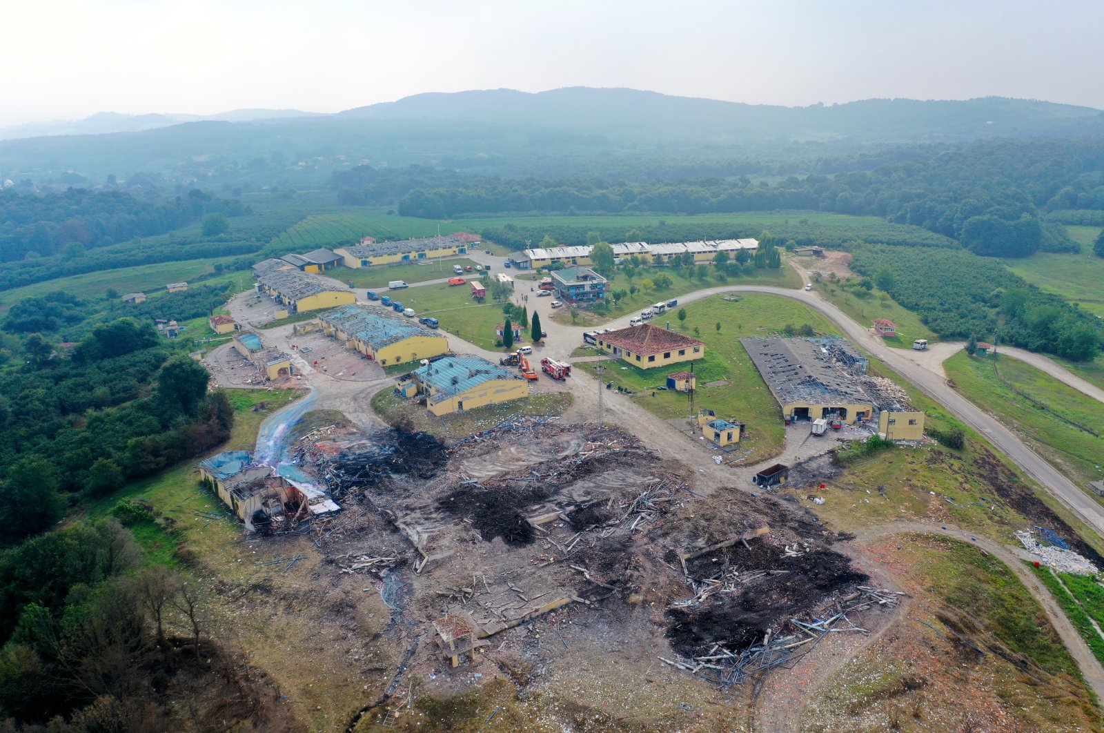 An aerial shot of the aftermath of an explosion at a fireworks factory in Sakarya, Turkey, July 7, 2020 (AA Photo)
