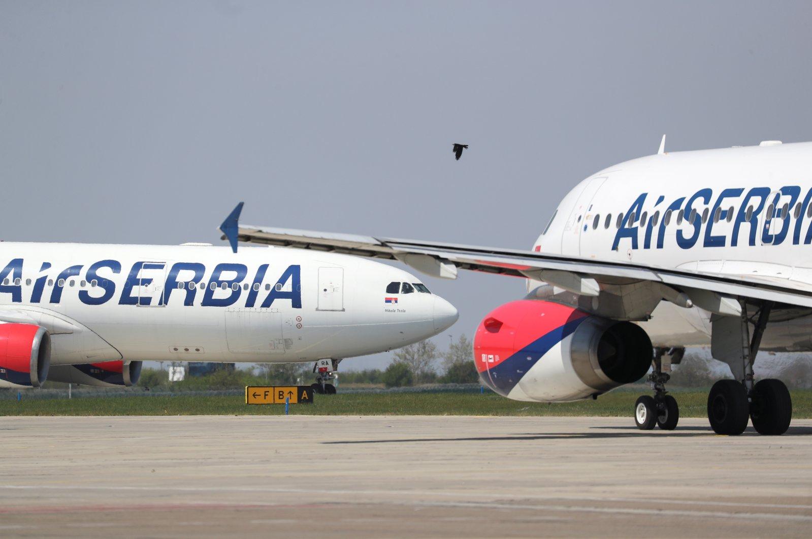 Air Serbia planes are seen at Nikola Tesla Airport, Belgrade, Serbia, April 25, 2020. (Reuters Photo)