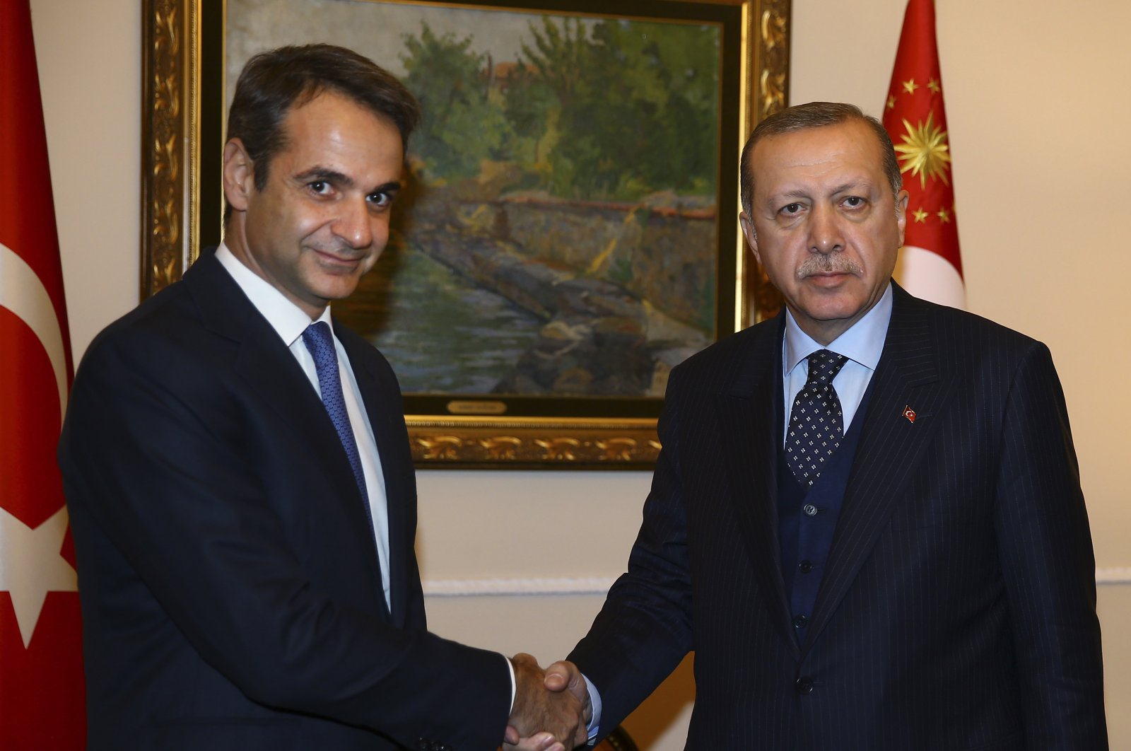 Turkey's President Recep Tayyip Erdoğan, right, on a two-day official visit to Greece, meets Kyriakos Mitsotakis, left, leader of the main opposition New Democracy party in Athens, Thursday, Dec. 7, 2017. (AP File Photo)