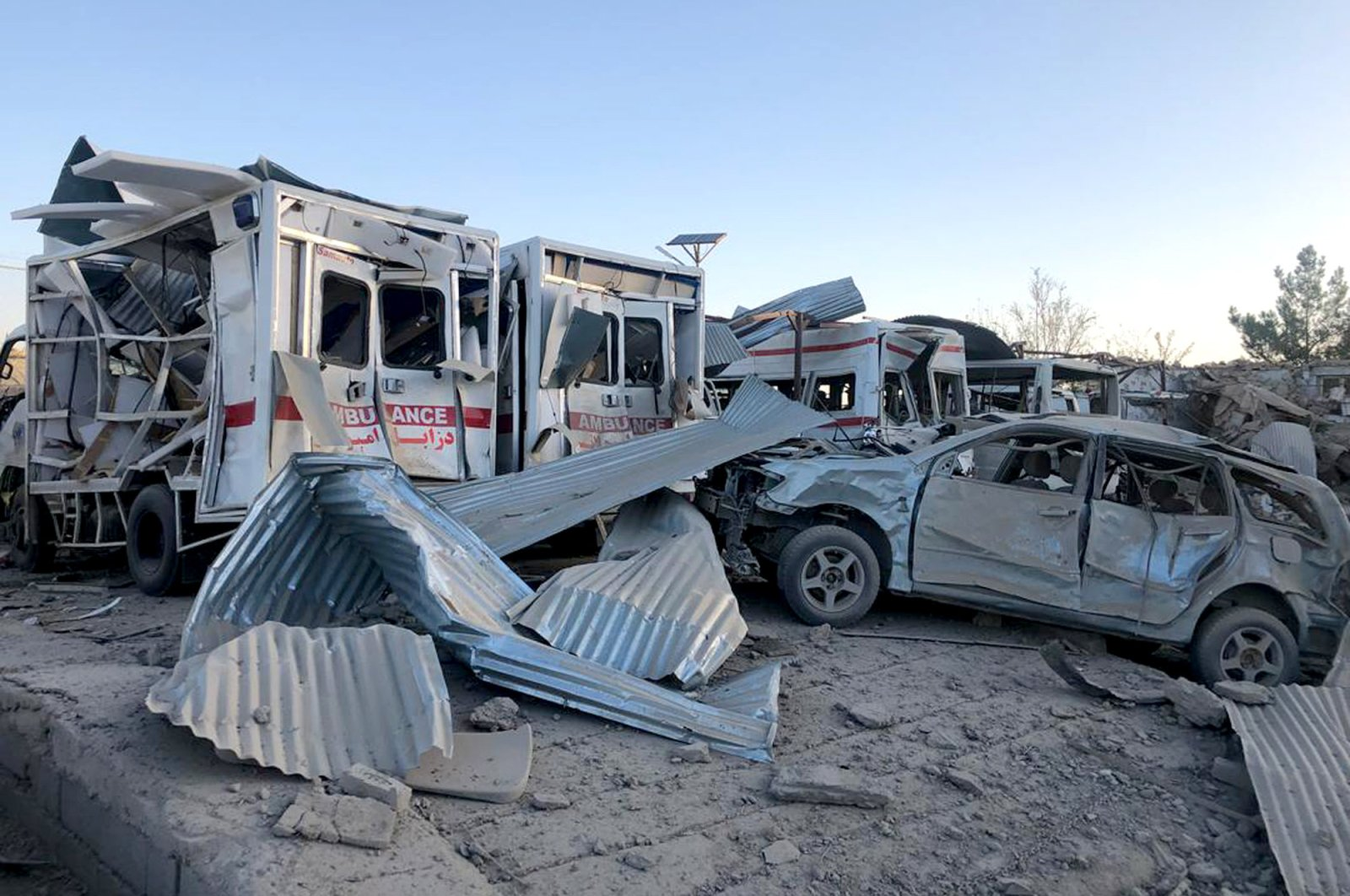 Damaged cars at the scene of a suicide attack in Zabul, Afghanistan, Sept. 19, 2019. (AP Photo)