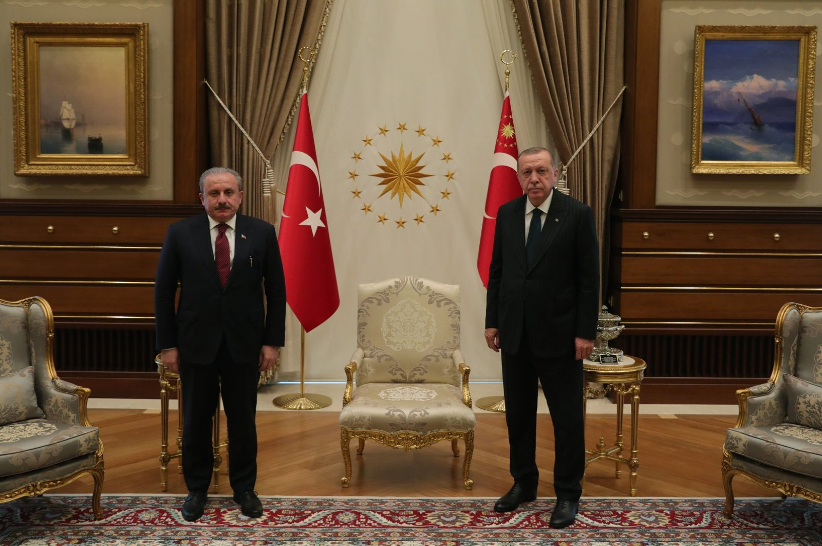 Parliament Speaker Mustafa Şentop is hosted by President Recep Tayyip Erdoğan at the presidential complex in the capital Ankara, June 17, 2020. (AA Photo)