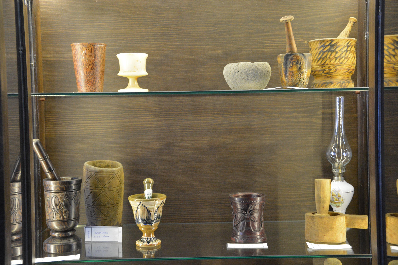 Old coffee mortars on display at the 44 Years of Memory Coffee Mansion in Malatya, eastern Turkey, July 7, 2020. (AA Photo)
