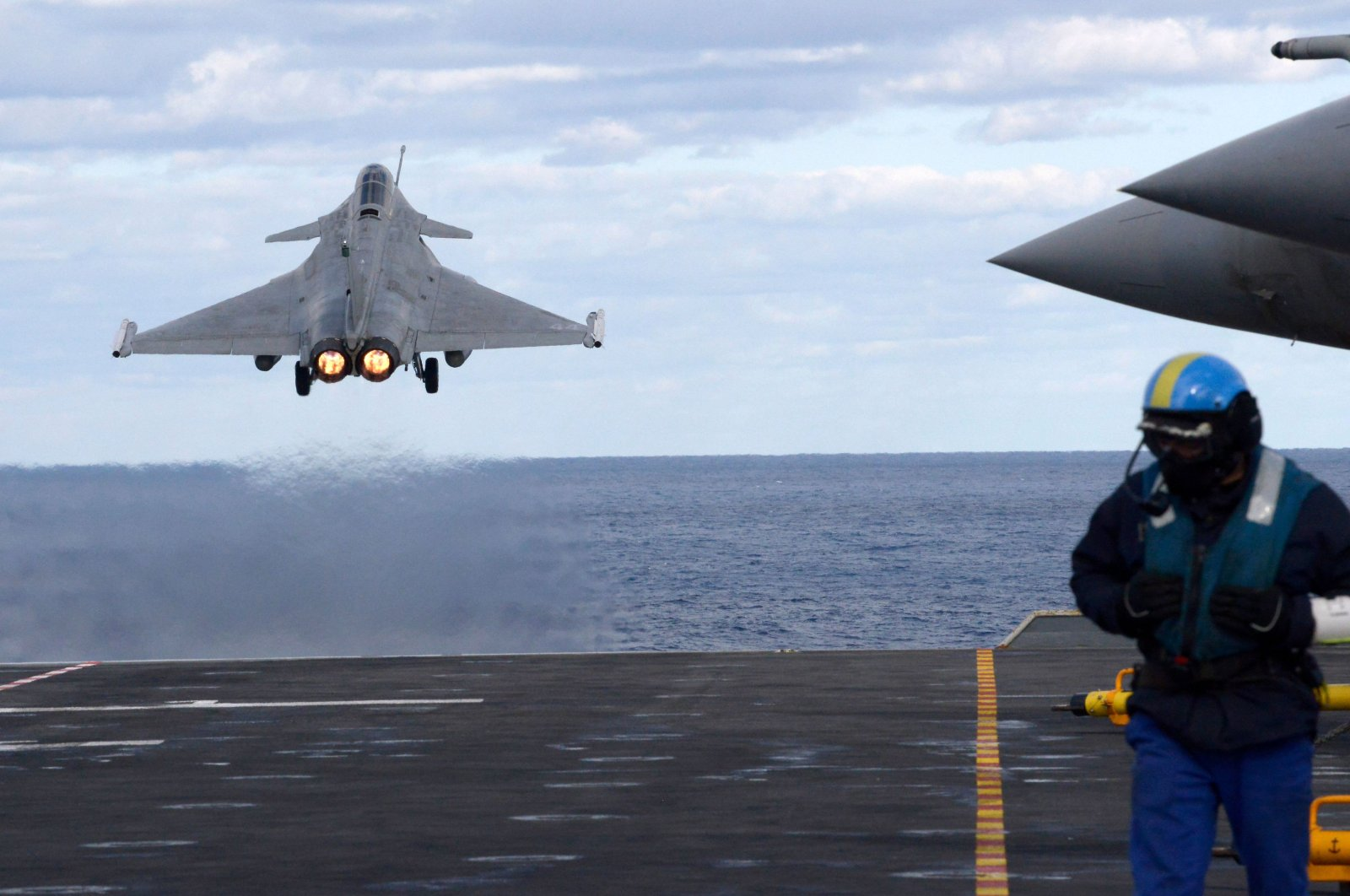 A Dassault Rafale fighter jet is catapulted from the French aircraft carrier Charles de Gaulle off the eastern coast of Cyprus in the Mediterranean Sea, Feb. 10, 2020. (AFP Photo)