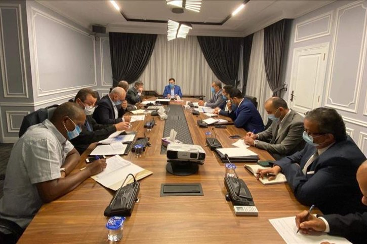 Libyan Prime Minister Fayez Sarraj (far center) and government officials hold a meeting on the return of Turkish companies to the country, Tripoli, Libya, July 7, 2020. (AA Photo)