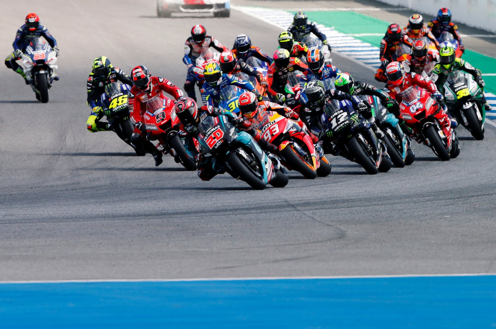 Riders in action during the Thailand GP, in Buriram, Thailand, Oct. 6, 2019. (Reuters Photo)