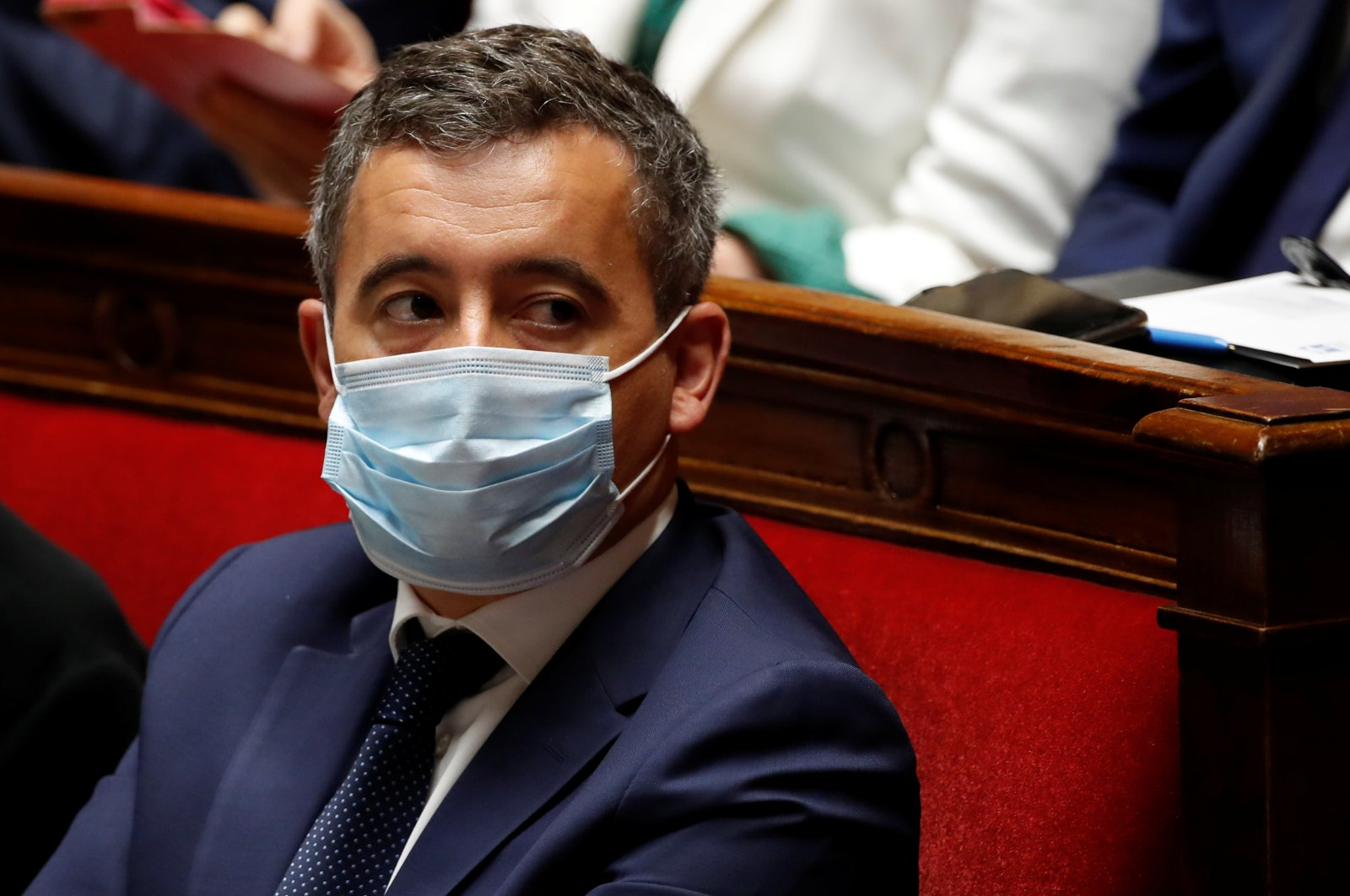 French Interior Minister Gerald Darmanin, wearing a protective face mask, attends the questions to the government session at the National Assembly in Paris, France, July 8, 2020. (Reuters Photo)