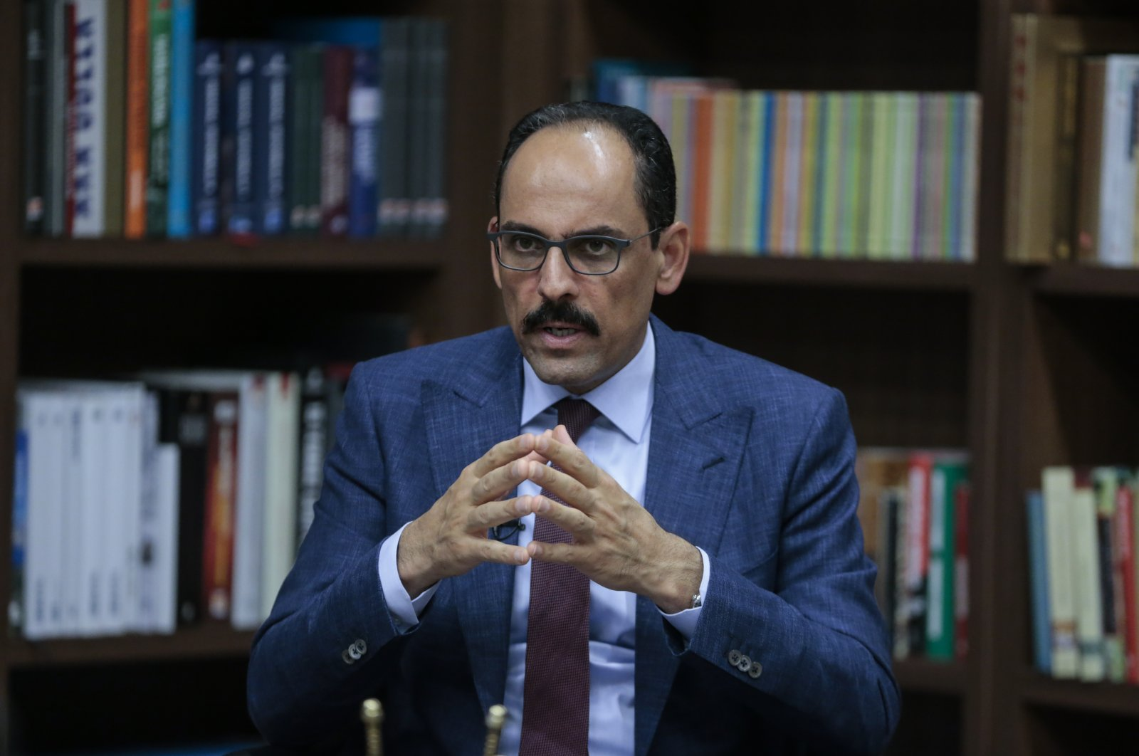 Presidential Spokesman Ibrahim Kalın comments on the recent developments in Libya and the Eastern Mediterranean in an interview with Anadolu Agency (AA), July 8, 2020. (AA Photo)