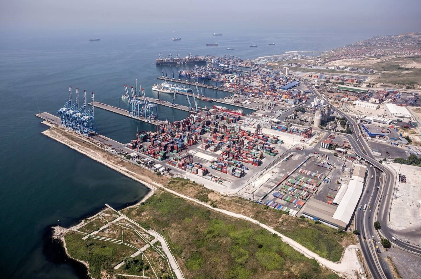 Containers and ships are seen at Kumport, one of Turkey's largest ports, Istanbul. (Photo courtesy of Kumport)
