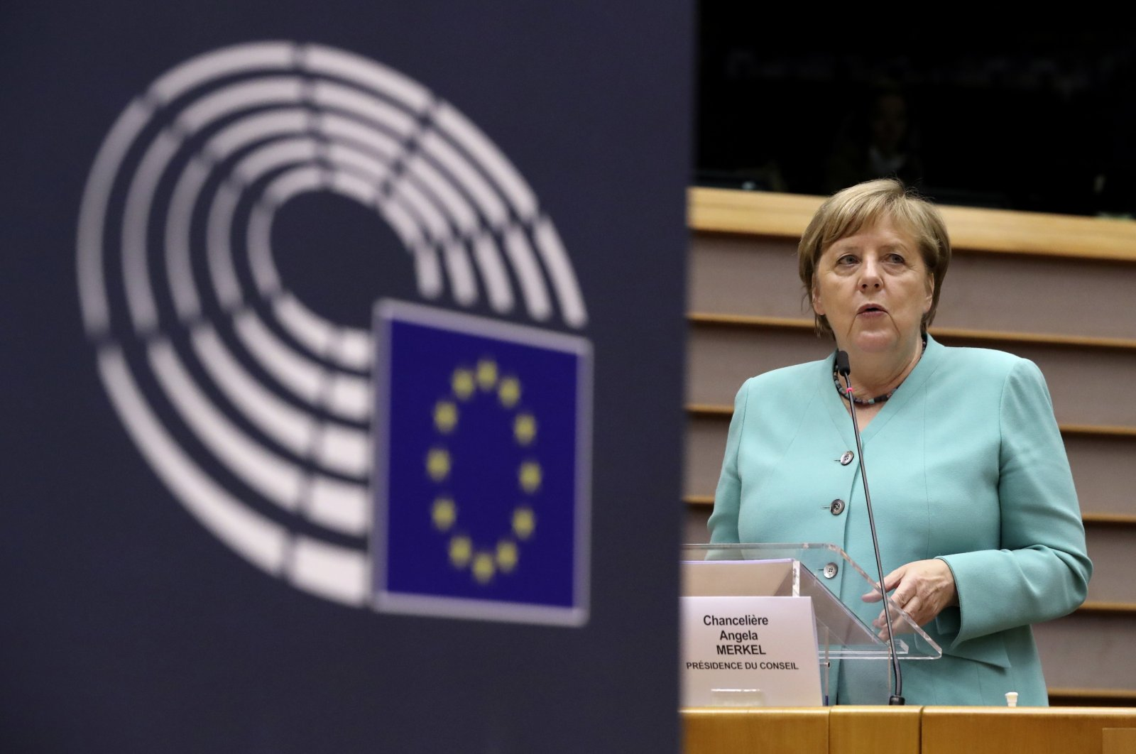 German Chancellor Angela Merkel addresses a plenary session at the European Parliament in Brussels, July 8, 2020. (AP Photo)