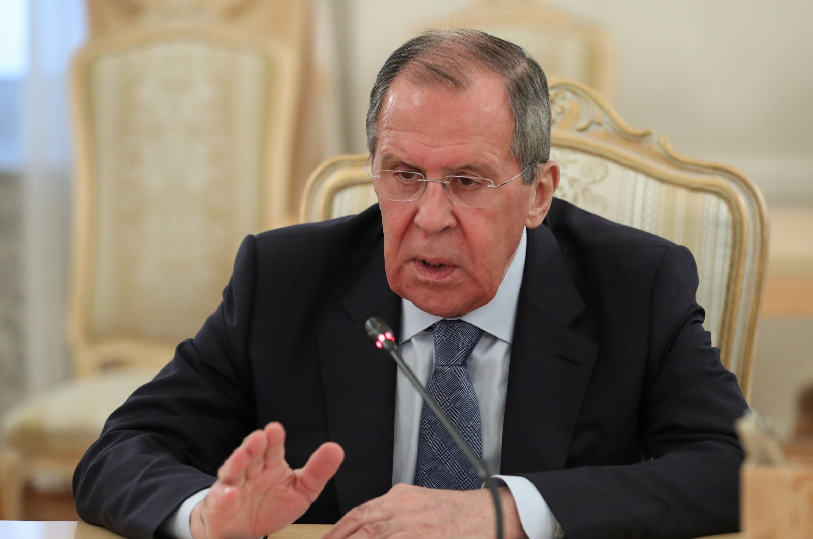 Russian Foreign Minister Sergei Lavrov speaks during a meeting with President of the Libyan House of Representatives Aguila Saleh Issa in Moscow, 03 July 2020. (EPA-EFE Photo)