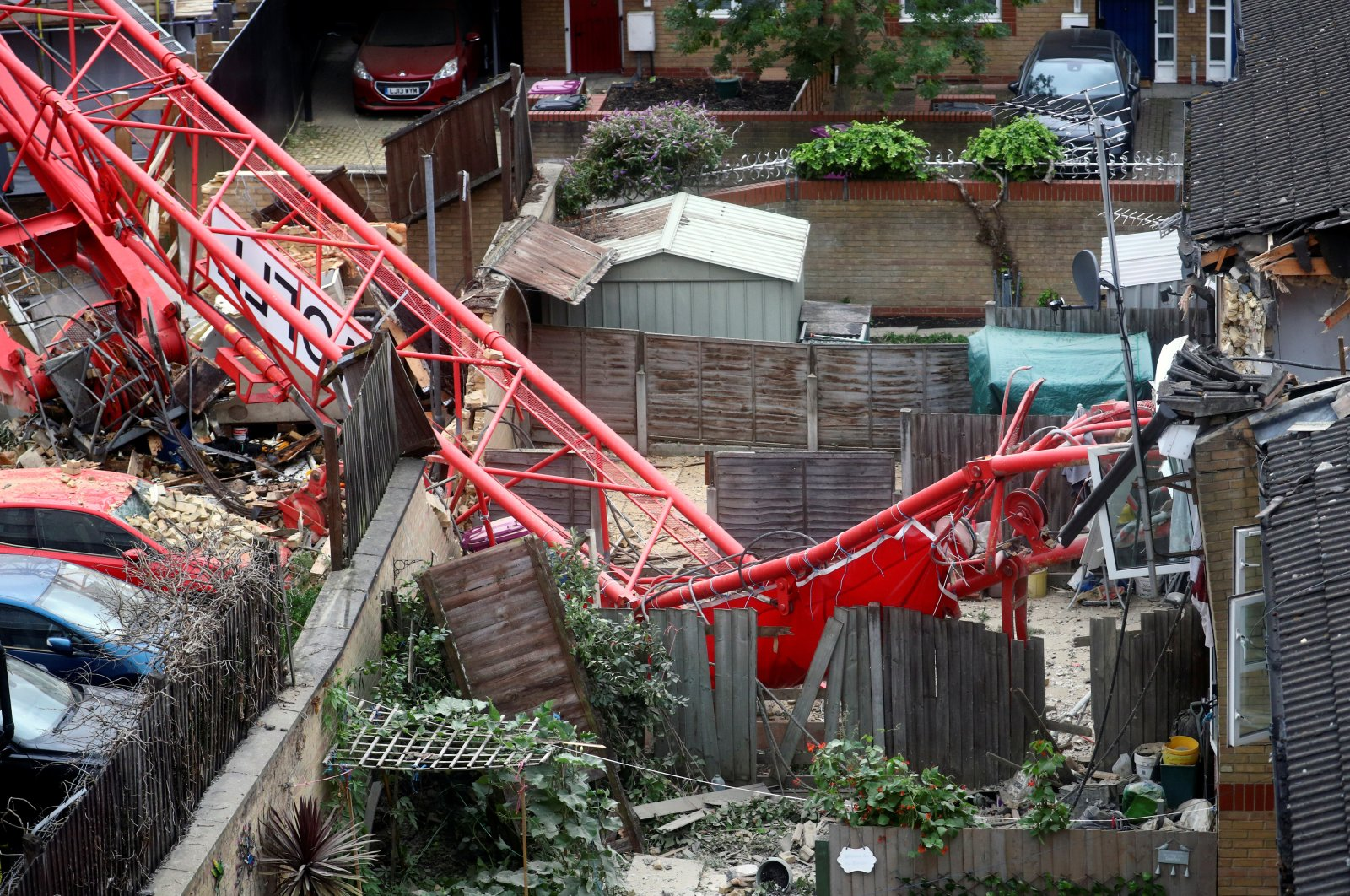 A collapsed crane is seen near a construction site in Bow, east London, Britain, July 8, 2020. (Reuters Photo)