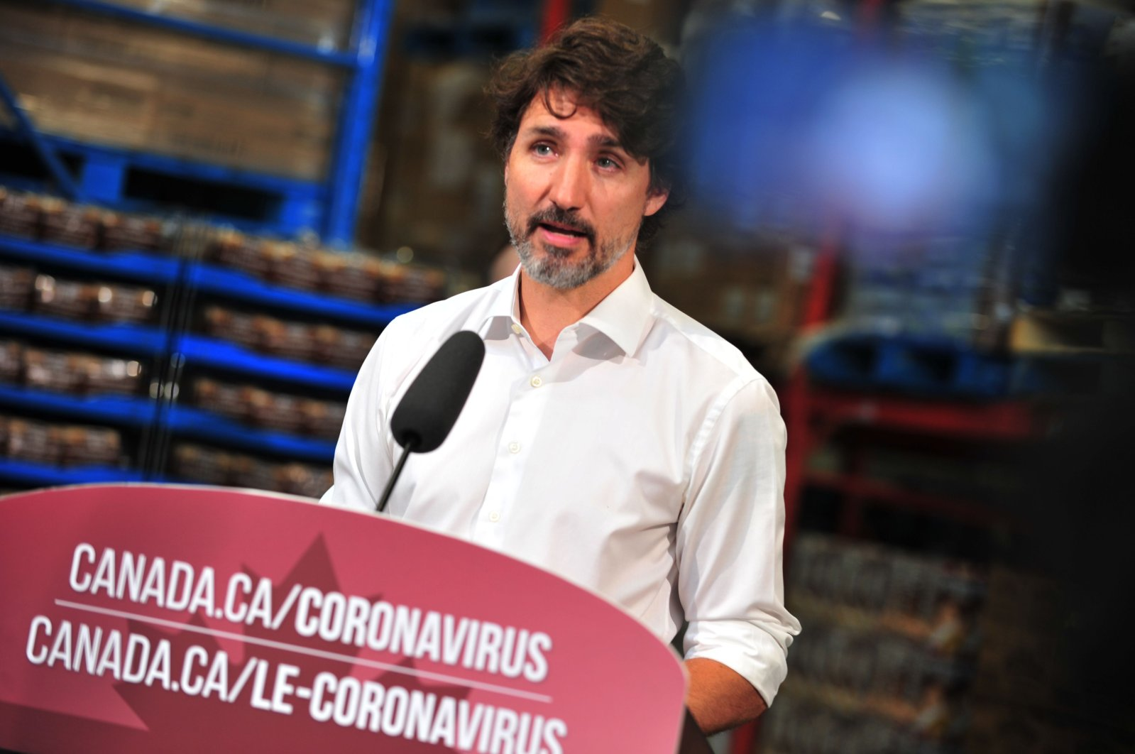 In this file photo taken on July 3, 2020 Canadian Prime Minister Justin Trudeau speaks to the press as he volunteers at the Moisson Outaouais food bank in Gatineau, Quebec, Canada during the coronavirus pandemic. (AFP Photo)