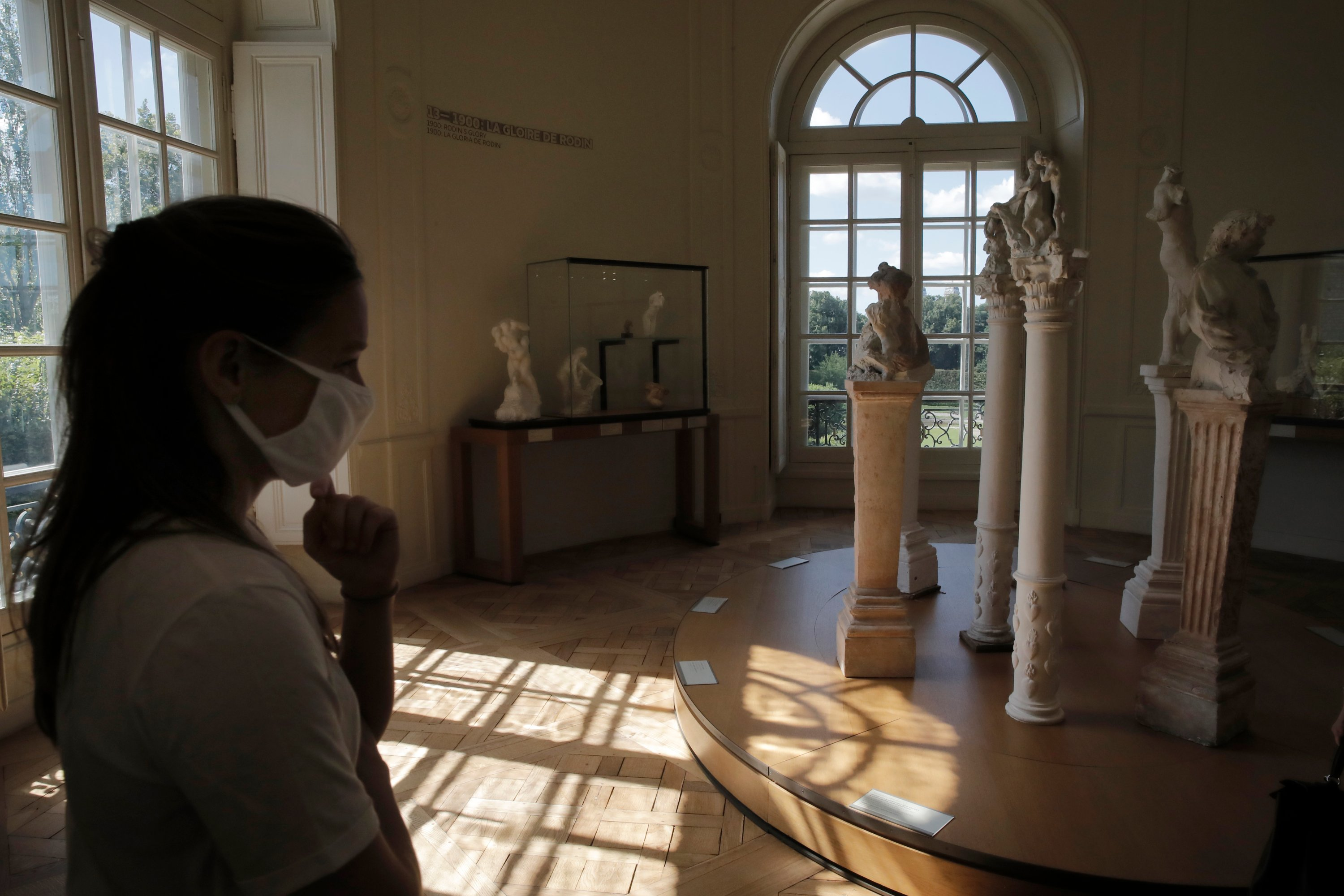 A guest visits the Rodin museum in Paris, France, July 7, 2020. (AP Photo)