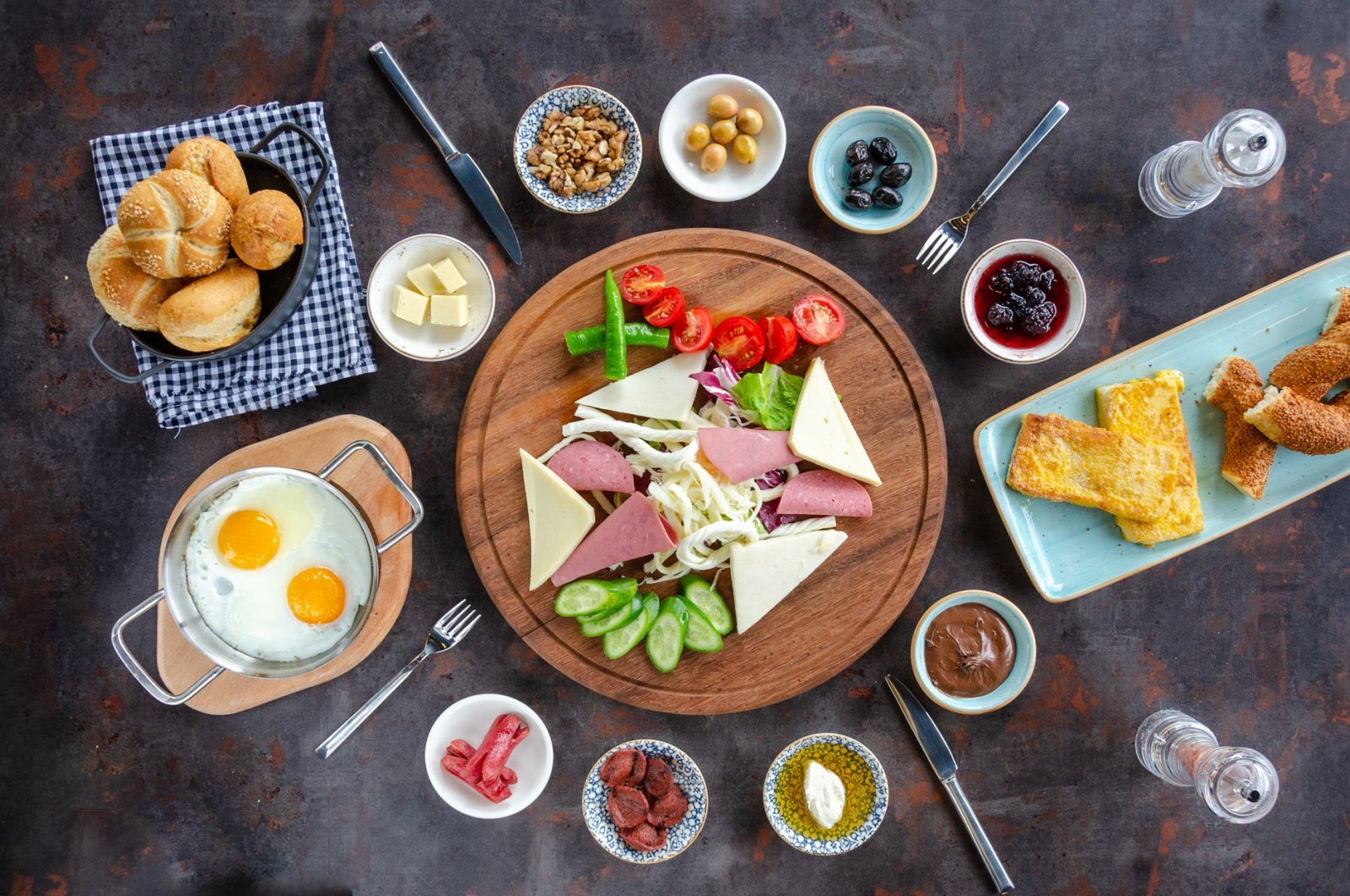 A Turkish breakfast has many elements, including but not limited to eggs, olives, honey, butter, cheese and bread. (iStock Photo)