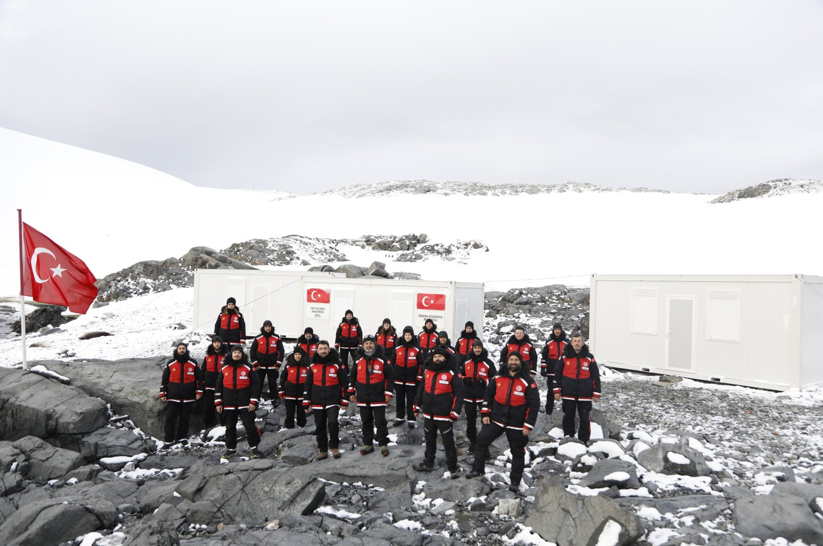 The Turkish team poses outside Turkey's Antarctic base. (Photo by Hayrettin Bektaş)