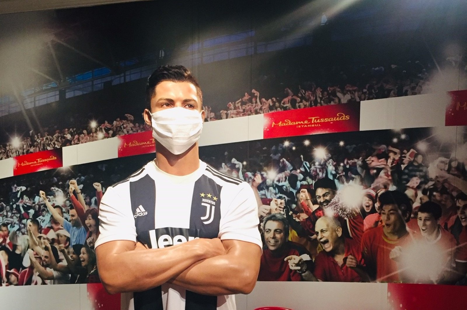 Cristiano Ronaldo's wax figure is seen wearing a mask in this photo in Istanbul, Turkey, July 8, 2020. (AA Photo)