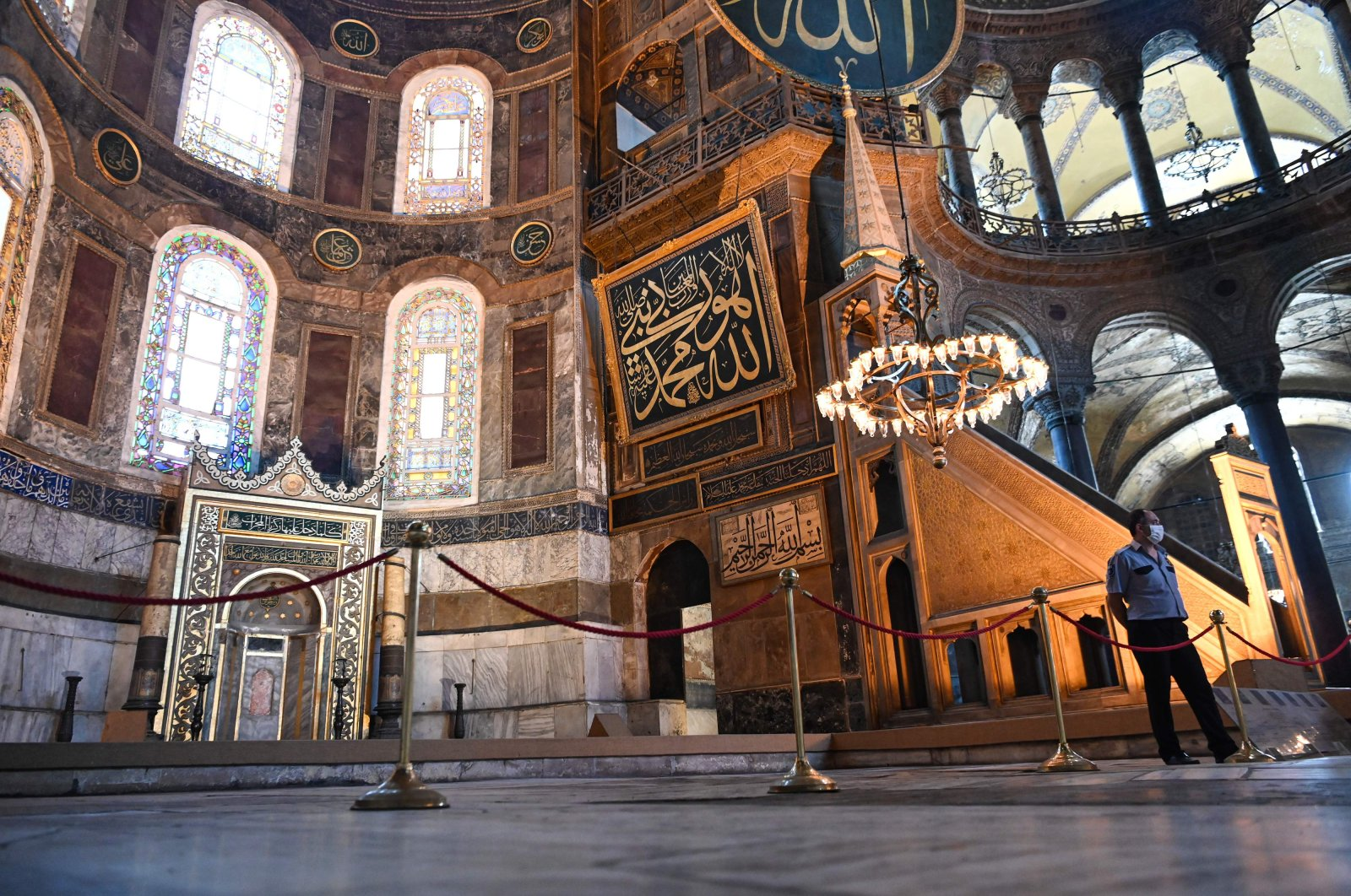A security officer stands guard inside the Hagia Sophia Museum, Istanbul, Turkey, July 2, 2020. (AFP Photo)
