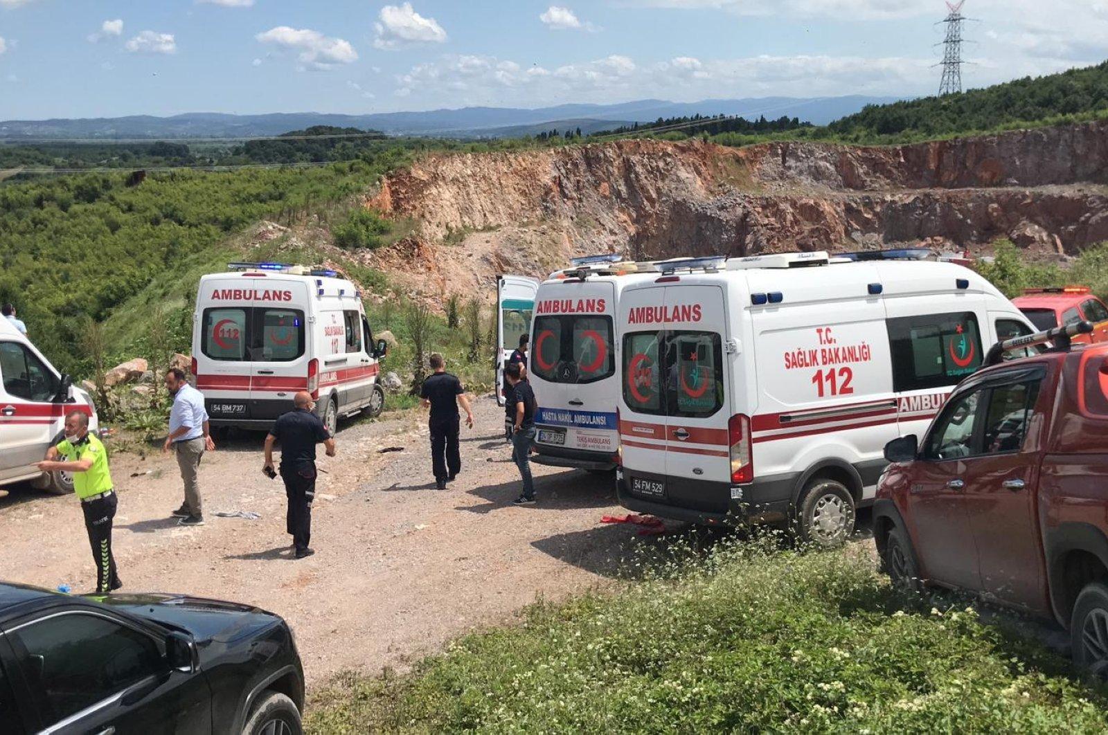 Ambulances are seen at the scene of the explosion, in Sakarya, Turkey, July 9, 2020. (IHA Photo)