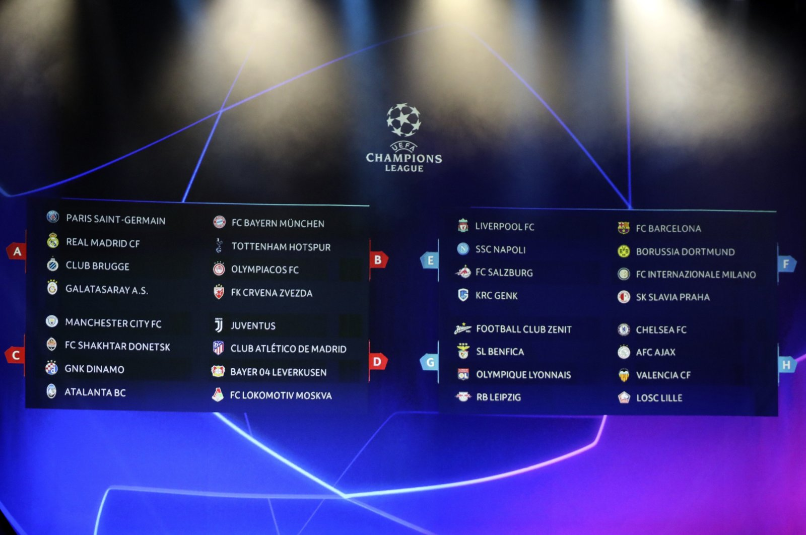 The screen shows the teams of UEFA Champions League group stage draw at the Grimaldi Forum, in Monaco, Aug. 29, 2019. (AP Photo)