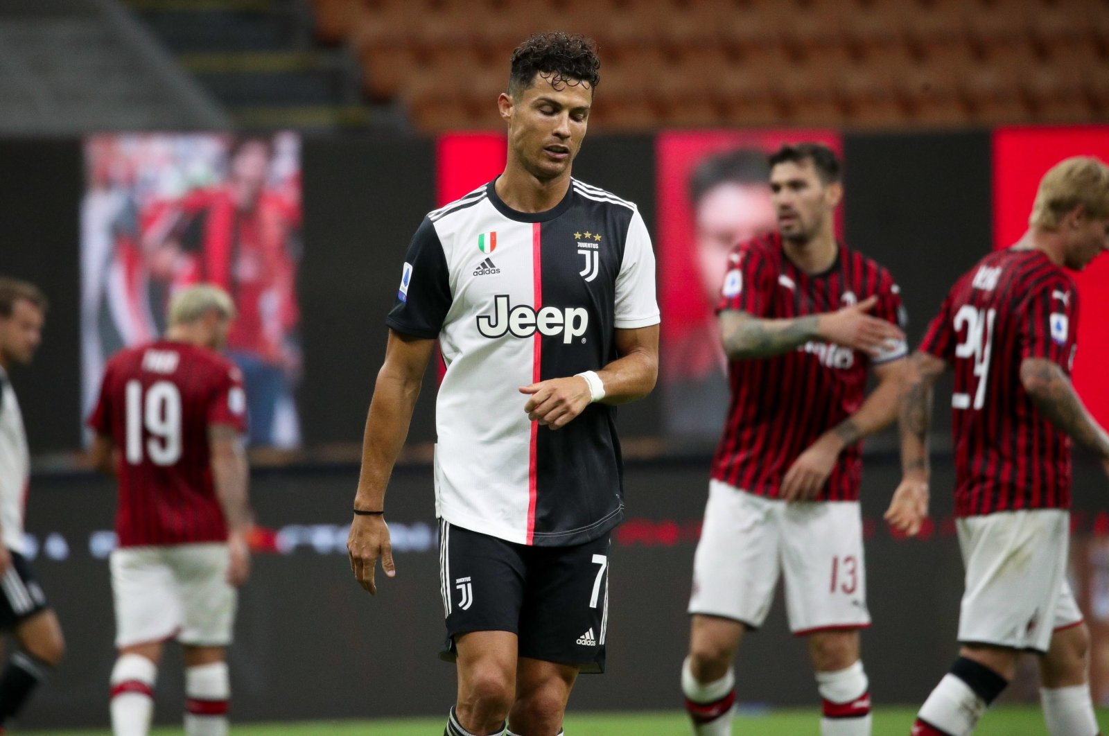 Juventus' Cristiano Ronaldo looks dejected during the Serie A match against AC Milan in Milan, Italy, July 7, 2020. (EPA Photo)
