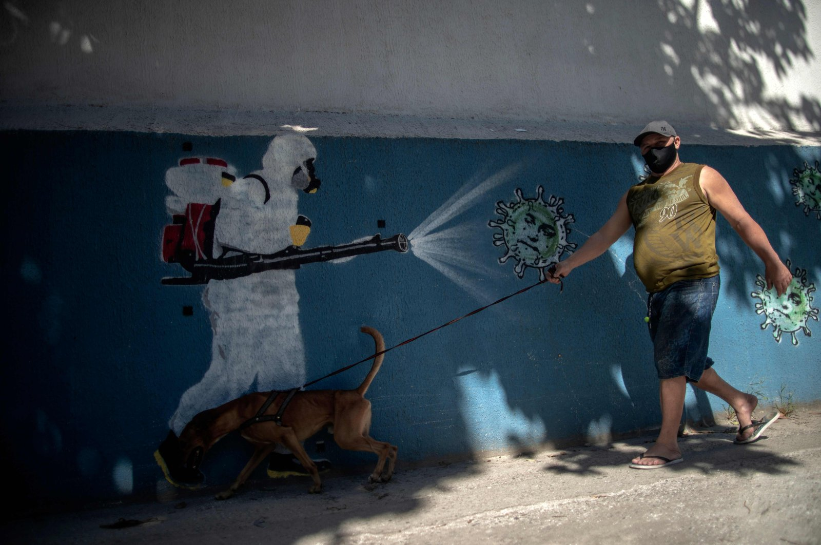 A man walks his dog in front of a mural depicting a man in protective suit spraying disinfectant on coronavirus, Rio de Janeiro, Brazil, July 8, 2020. (AFP Photo)