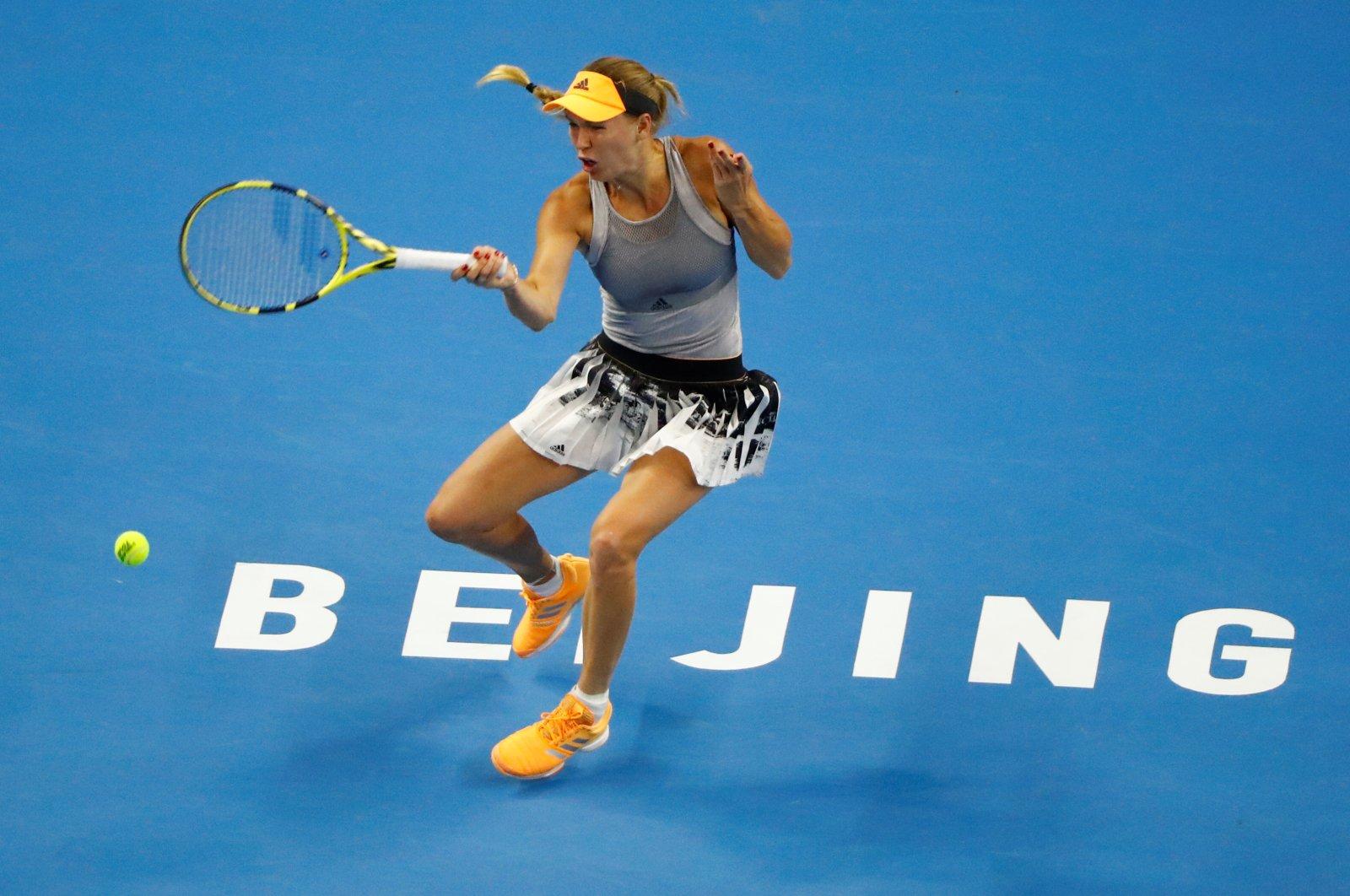 Caroline Wozniacki during China Open semifinals in Beijing, China, Oct. 5, 2019. (Reuters Photo)
