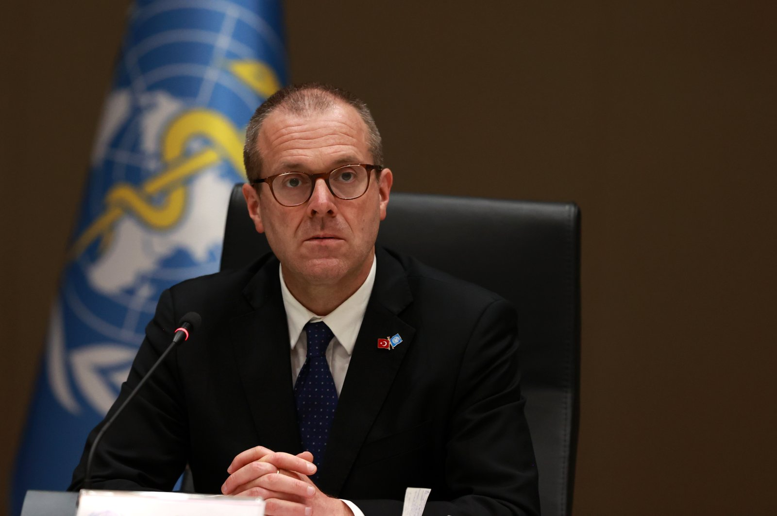 WHO Europe Director Hans Kluge during the press conference with Health Minister Fahrettin Koca, in Ankara, July 9, 2020 (AA Photo)