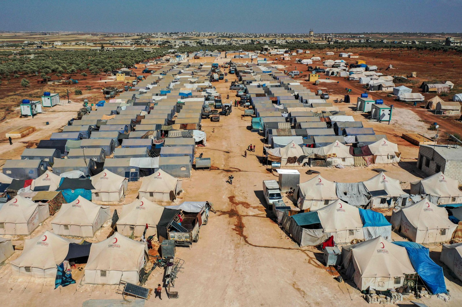 An aerial view of tents at the Azraq camp for displaced Syrians near the town of Maaret Misrin in Syria's northwestern Idlib province, July 9, 2020.  (AFP)