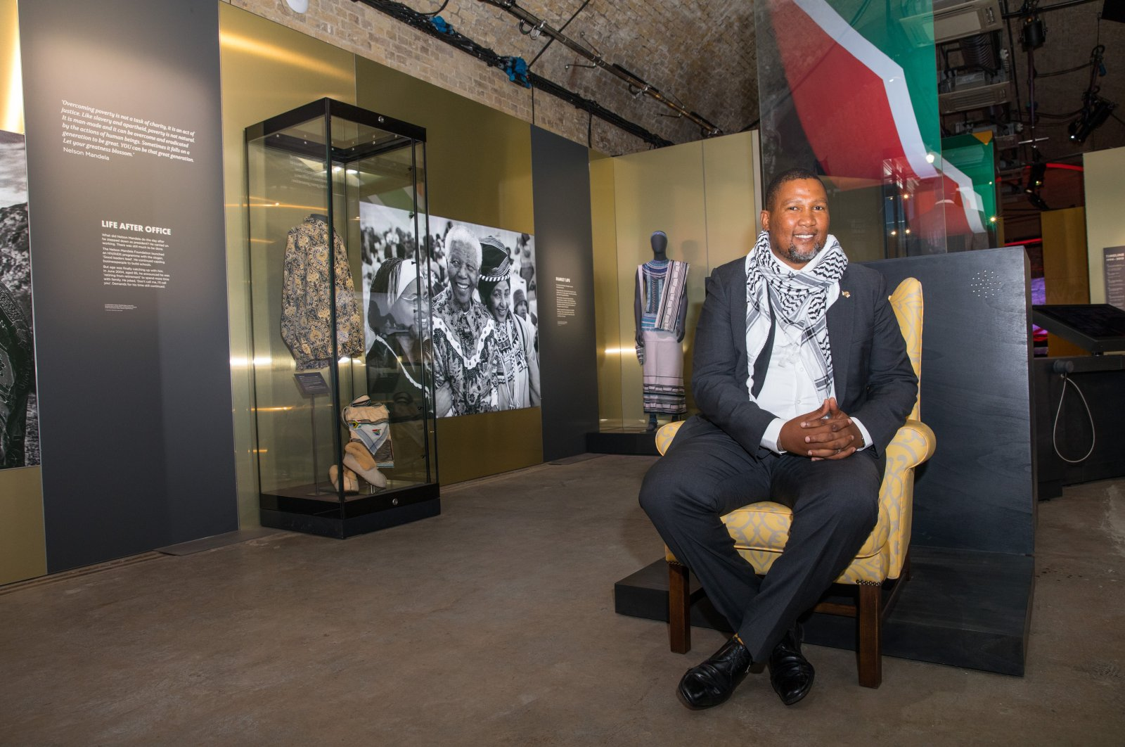 """This file photo shows Chief Zwelivelile """"Mandla"""" Mandela at the """"Mandela: The Official Exhibition"""" in London, U.K., Feb. 07, 2019 (Reuters Photo)"""