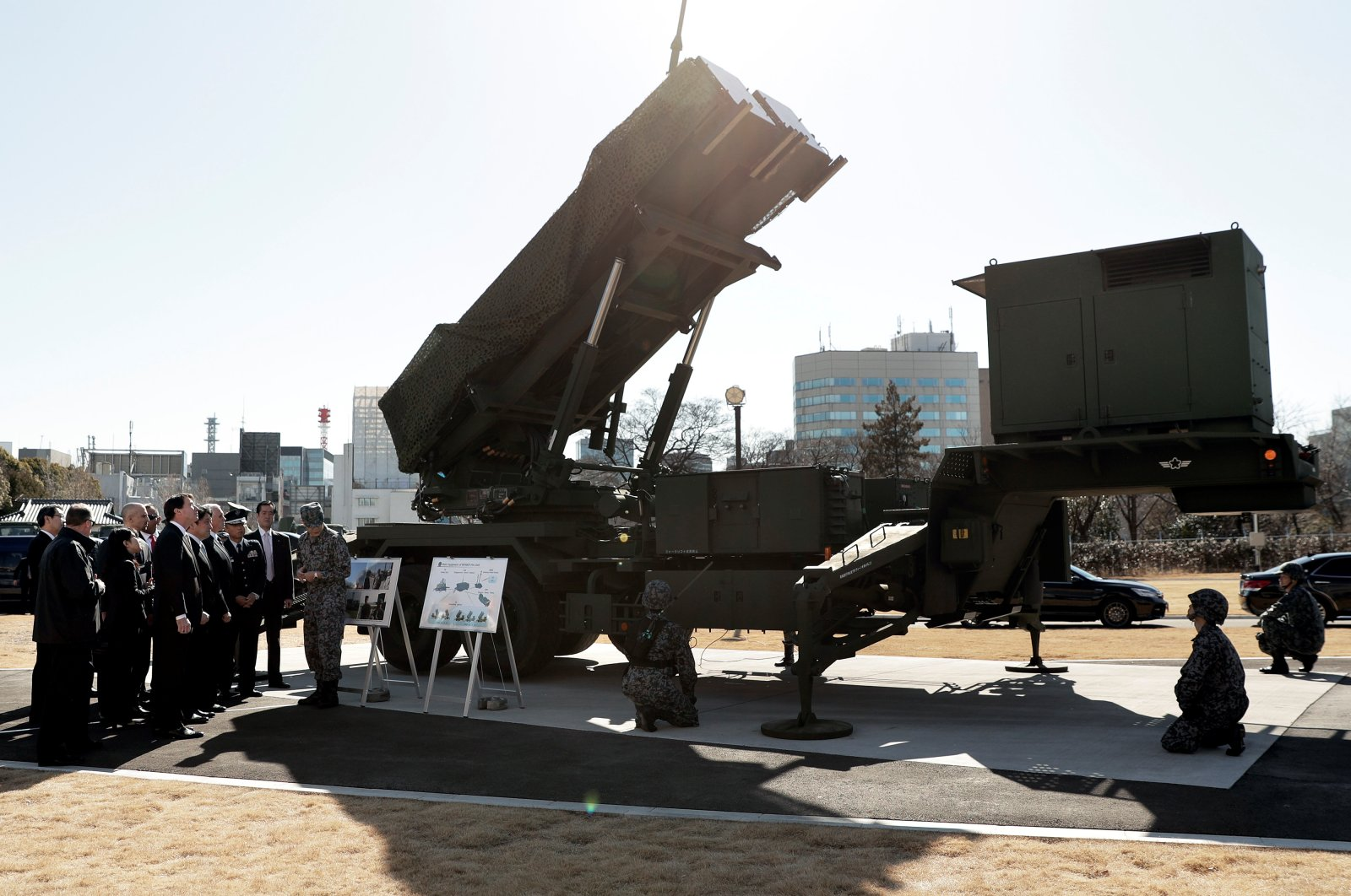 U.S. Vice President Mike Pence inspects the Patriot Advanced Capability-3 (PAC-3) missile launch system with Itsunori Onodera, Japan's defense minister, during a demonstration at the Ministry of Defense in Tokyo, Japan, Feb. 7, 2018. (Reuters Photo)