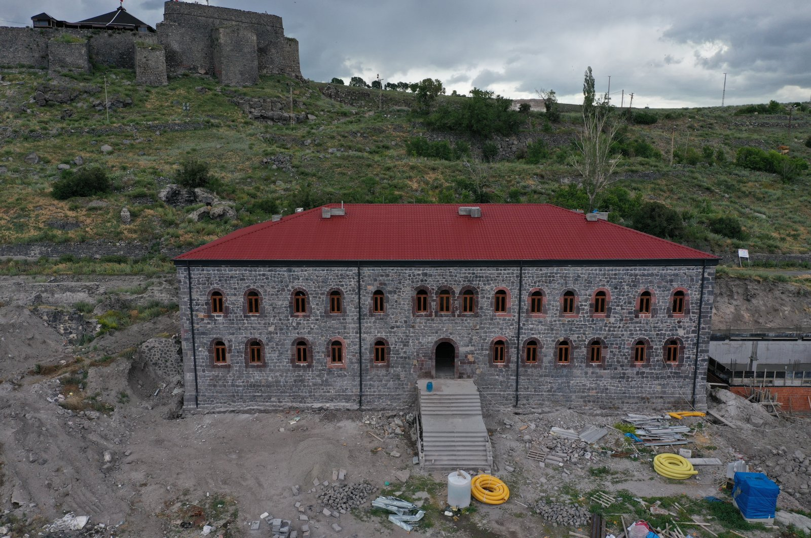 The historical Beylerbeyi Palace is seen on the outskirts of the Kars Castle on July 9, 2020. (AA PHOTO)
