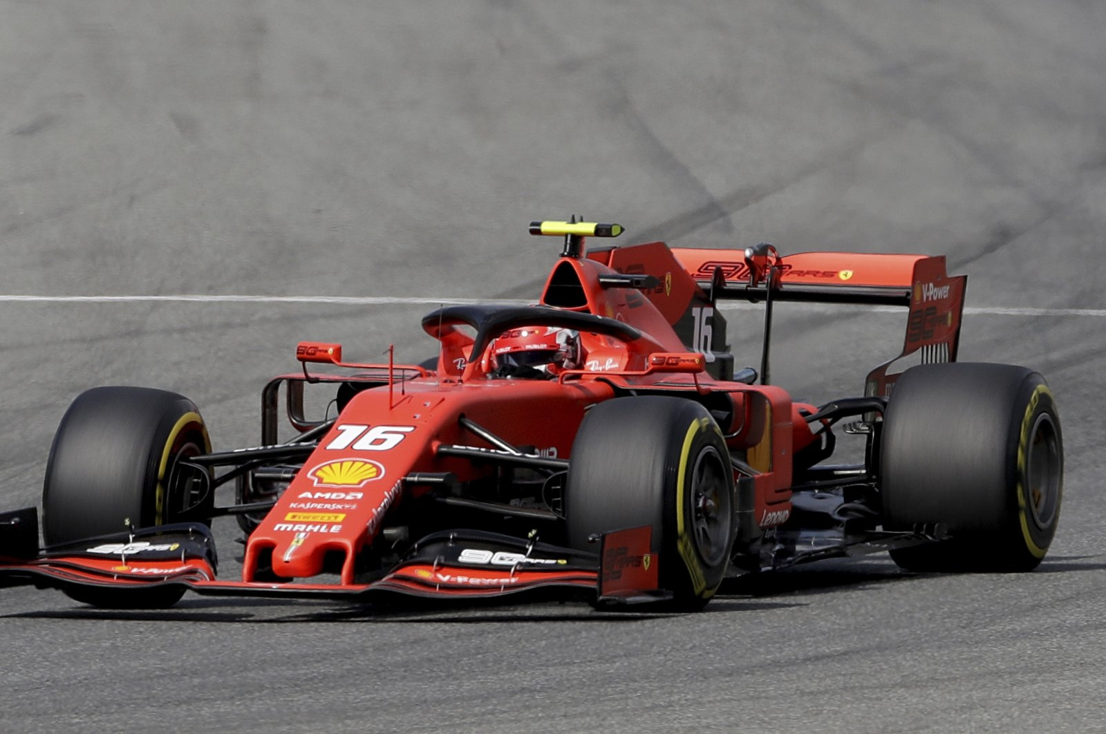 Ferrari driver Charles Leclerc steers his car during the qualifying session at the Italian Grand Prix, Monza, Italy, Sept. 7, 2019. (AP Photo)