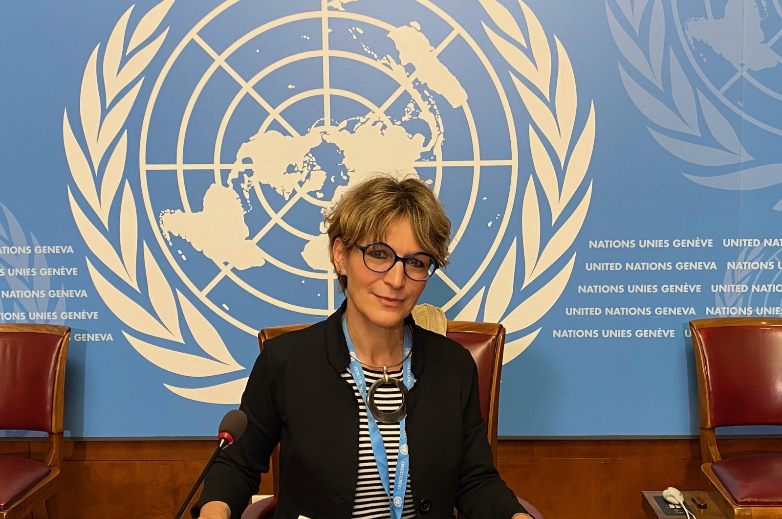 U.N. human rights investigator Agnes Callamard after speaking to journalists at the U.N. in Geneva, July 9, 2020. (AA)