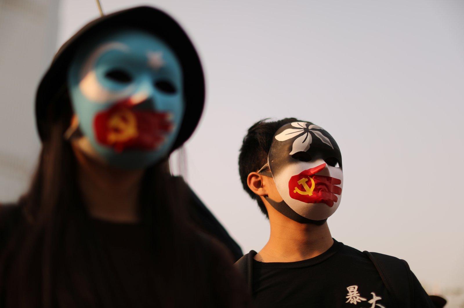 Hong Kong protesters rally in support of Xinjiang Uighurs' human rights in Hong Kong, China, Dec., 22, 2019. (Reuters Photo)