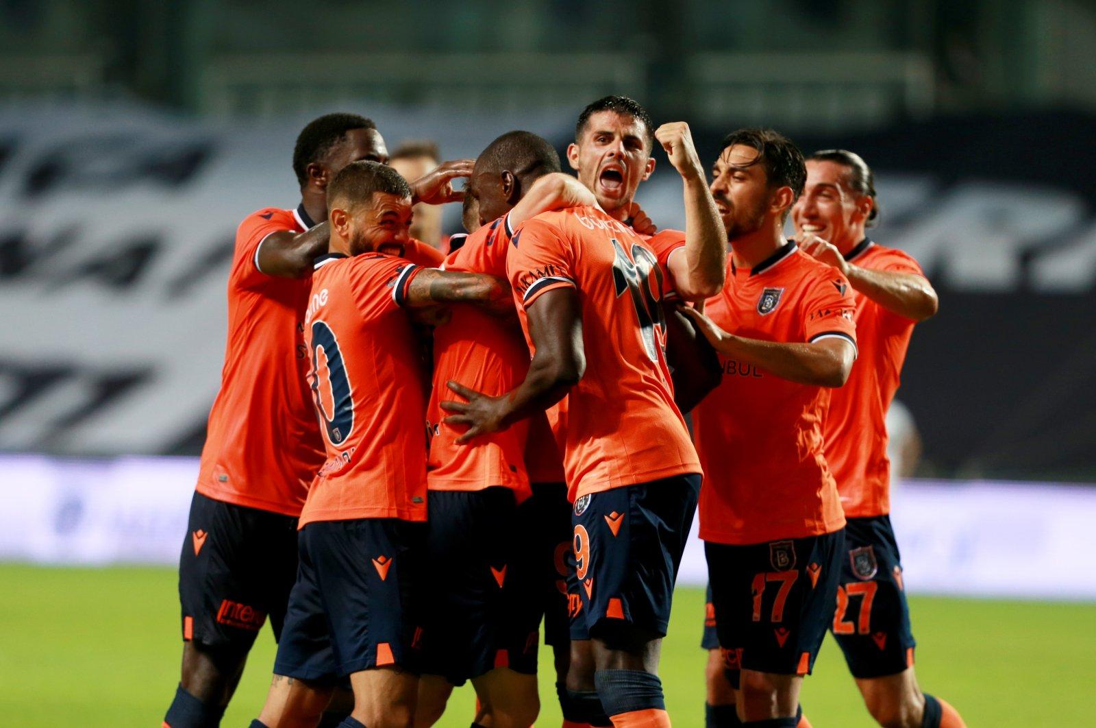 Başakşehir players celebrate defeating Denizlispor after a Süper Lig match in Istanbul, Turkey, July 7, 2020. (AA Photo)