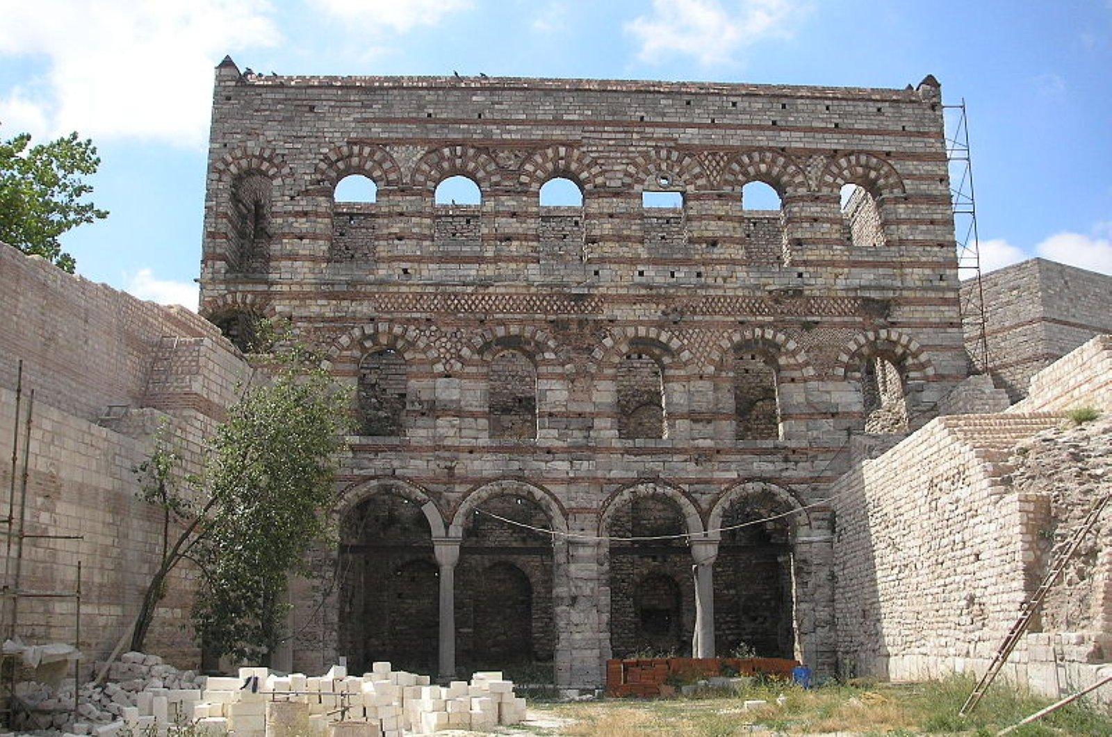 A photo of Tekfur Palace before restoration.