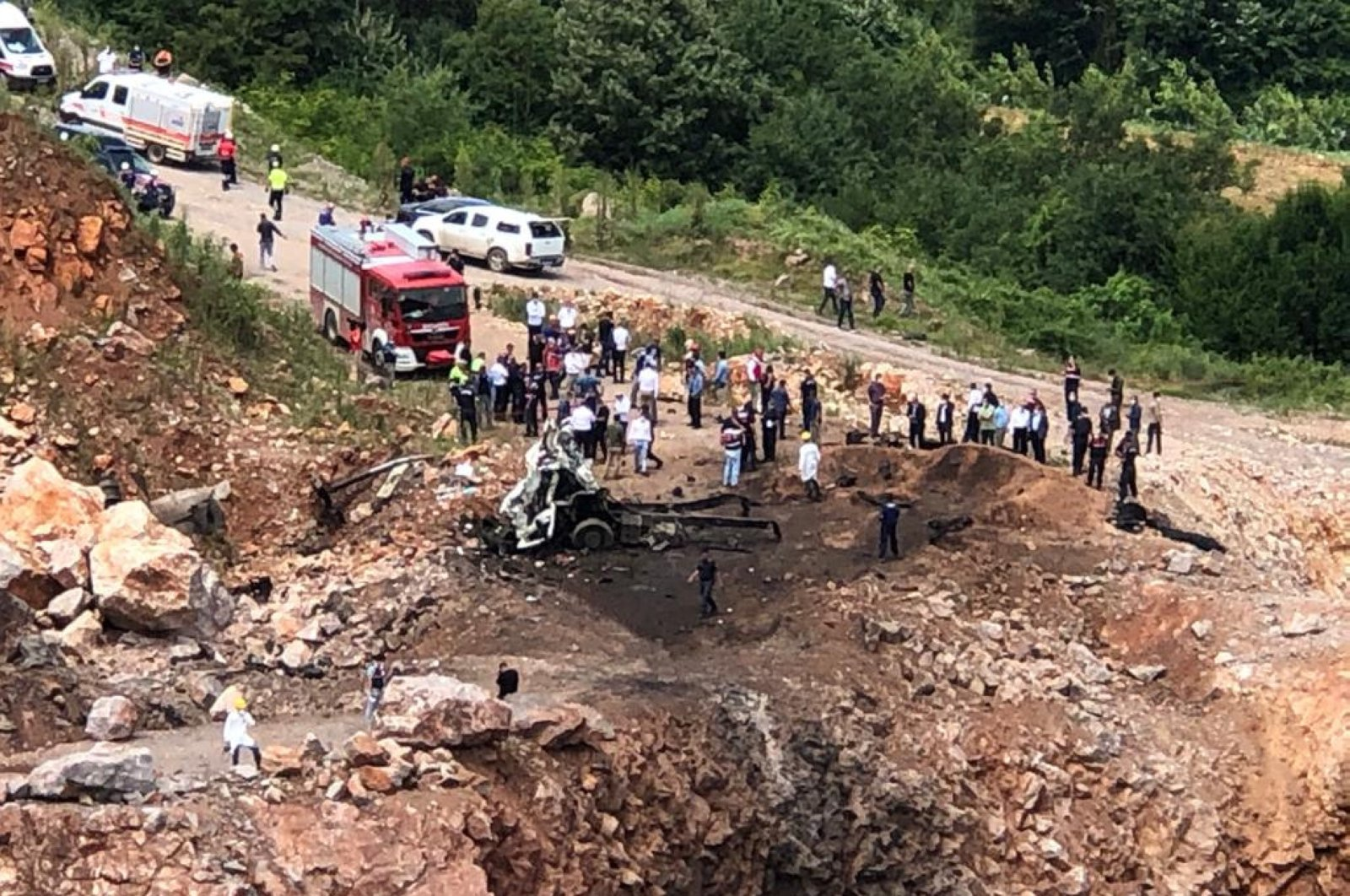 The scene after a second explosion near quarries in Sakarya province killed three soldiers, July 9, 2020. (DHA Photo)