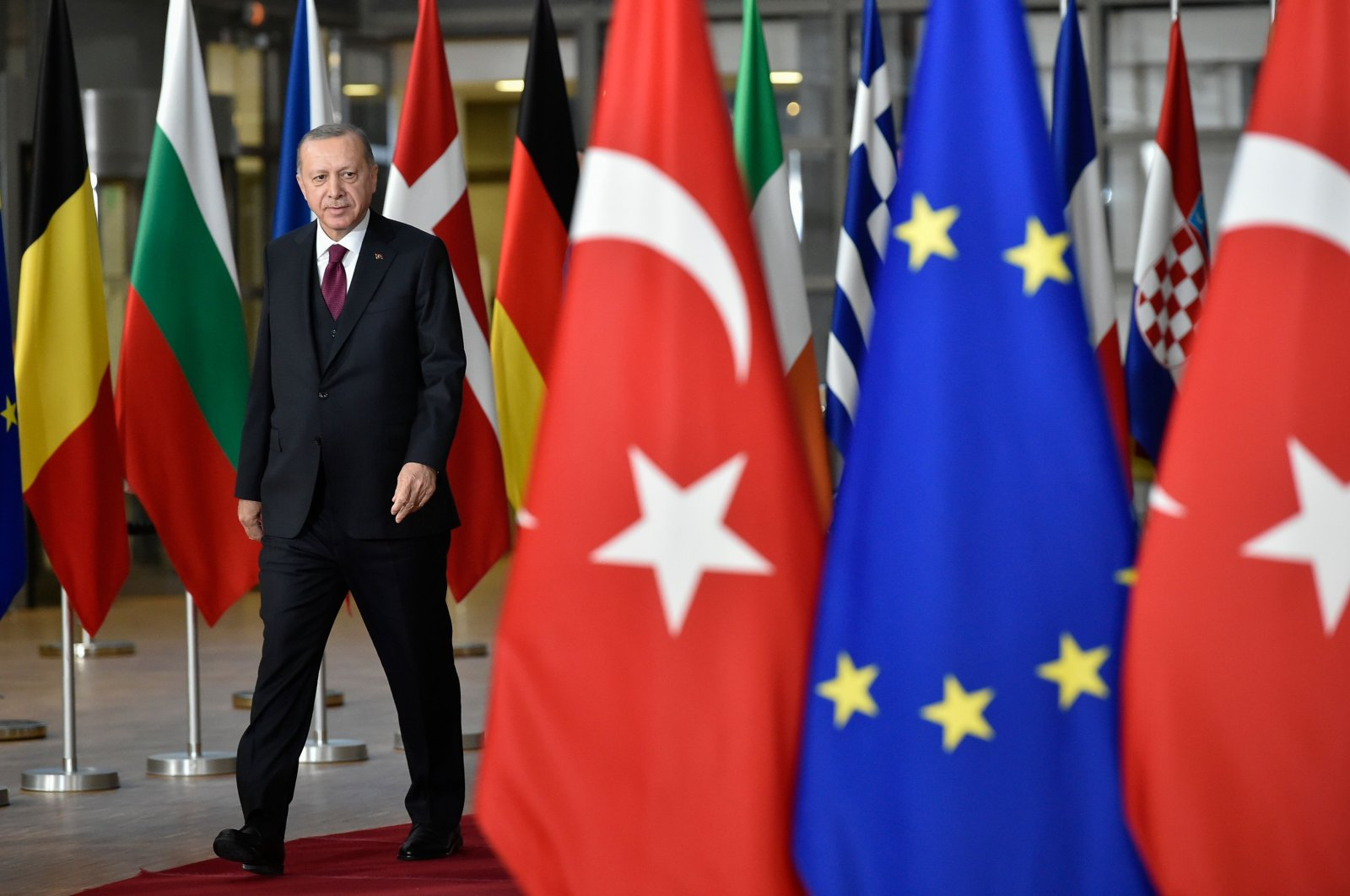 President Recep Tayyip Erdoğan arrives before a meeting with European Commission President and EU Council President at the EU headquarters in Brussels, March 9, 2020. (AFP Photo)