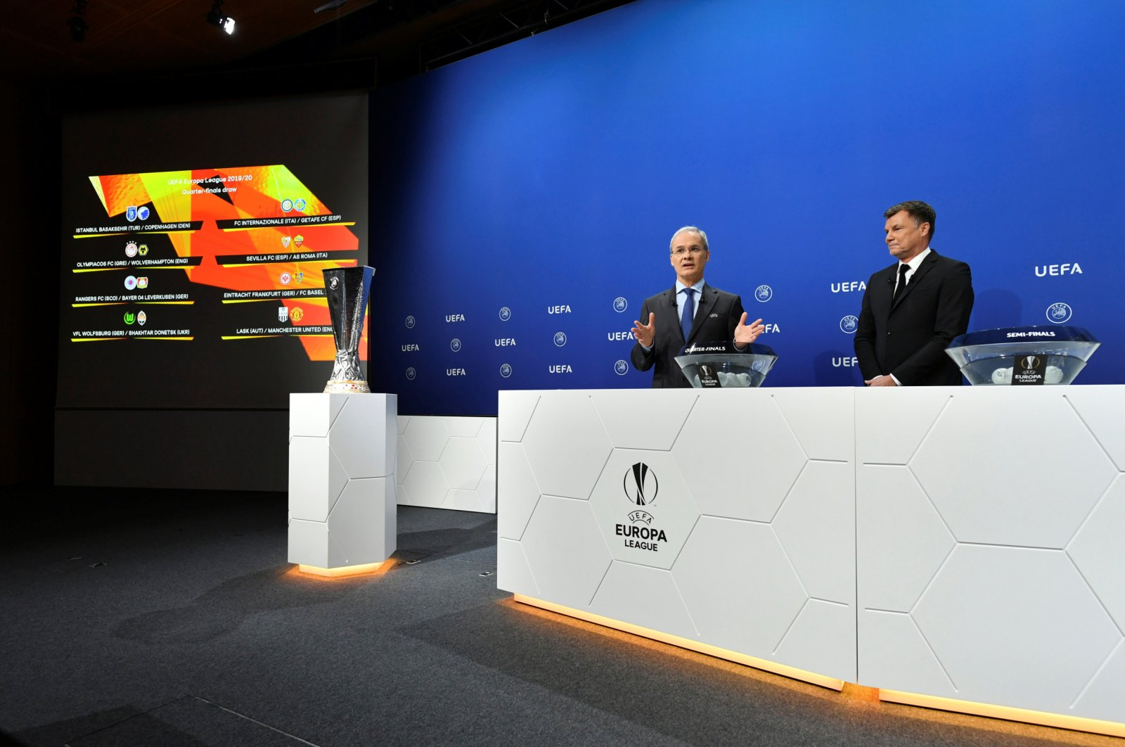 UEFA officials hold a draw for Europa League quarterfinals and semifinals in Nyon, Switzerland, July 10, 2020. (UEFA via Reuters)