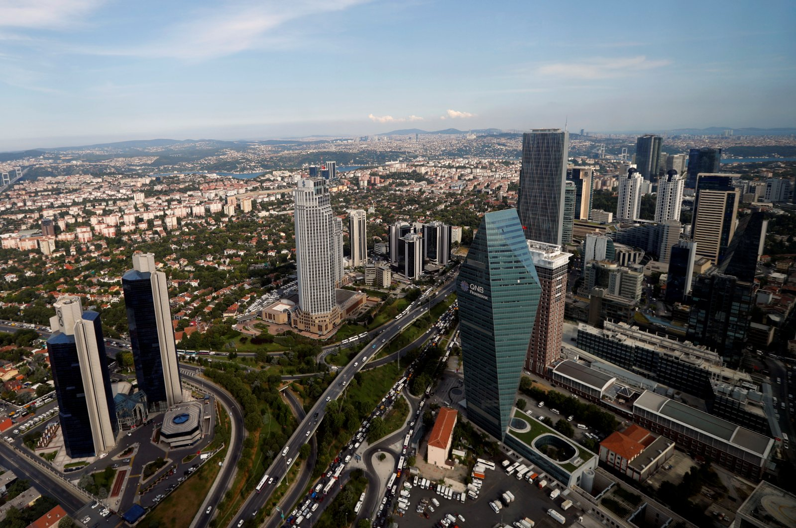 The business and financial district of Levent, which comprises banks' headquarters and popular shopping malls, is pictured in Istanbul, Turkey, July 9, 2019. (Reuters Photo)