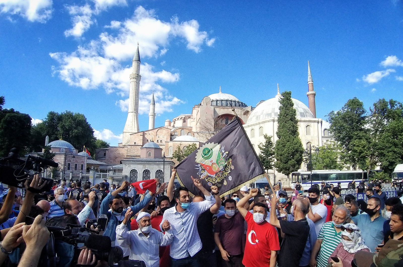 People celebrating the court ruling in front of Hagia Sophia, in Istanbul, Turkey, July 10, 2020. (Photo by Uǧur Yildirim)