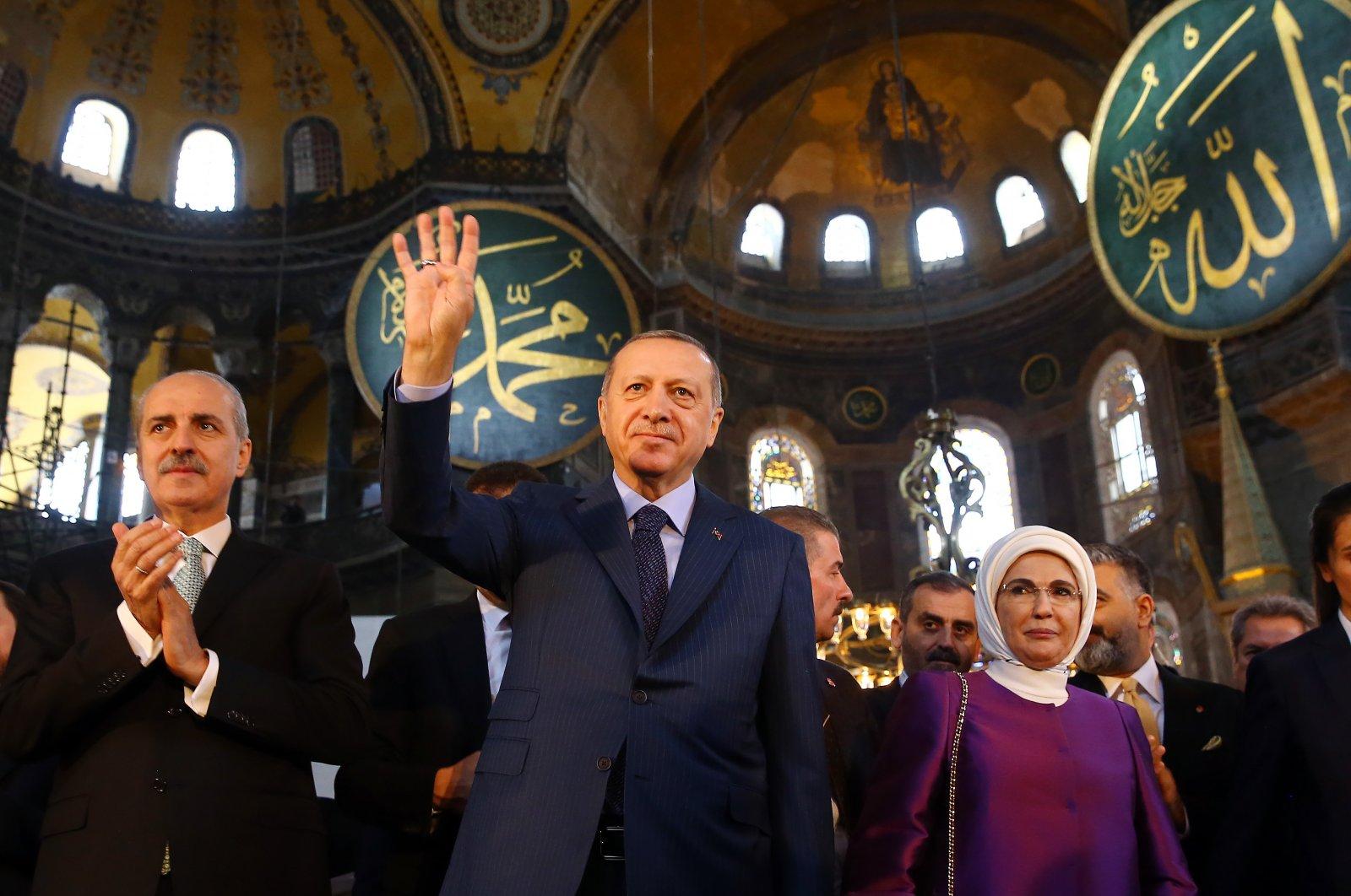 President Recep Tayyip Erdoğan gestures during a visit to Hagia Sophia, in Istanbul, Turkey, March 31, 2018. (AA Photo)