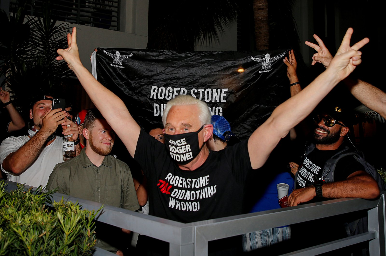 Roger Stone, a longtime friend and adviser of U.S. President Donald Trump, reacts after Trump commuted his federal prison sentence, outside his home in Fort Lauderdale, Fla., July 10, 2020.  (Reuters Photo)